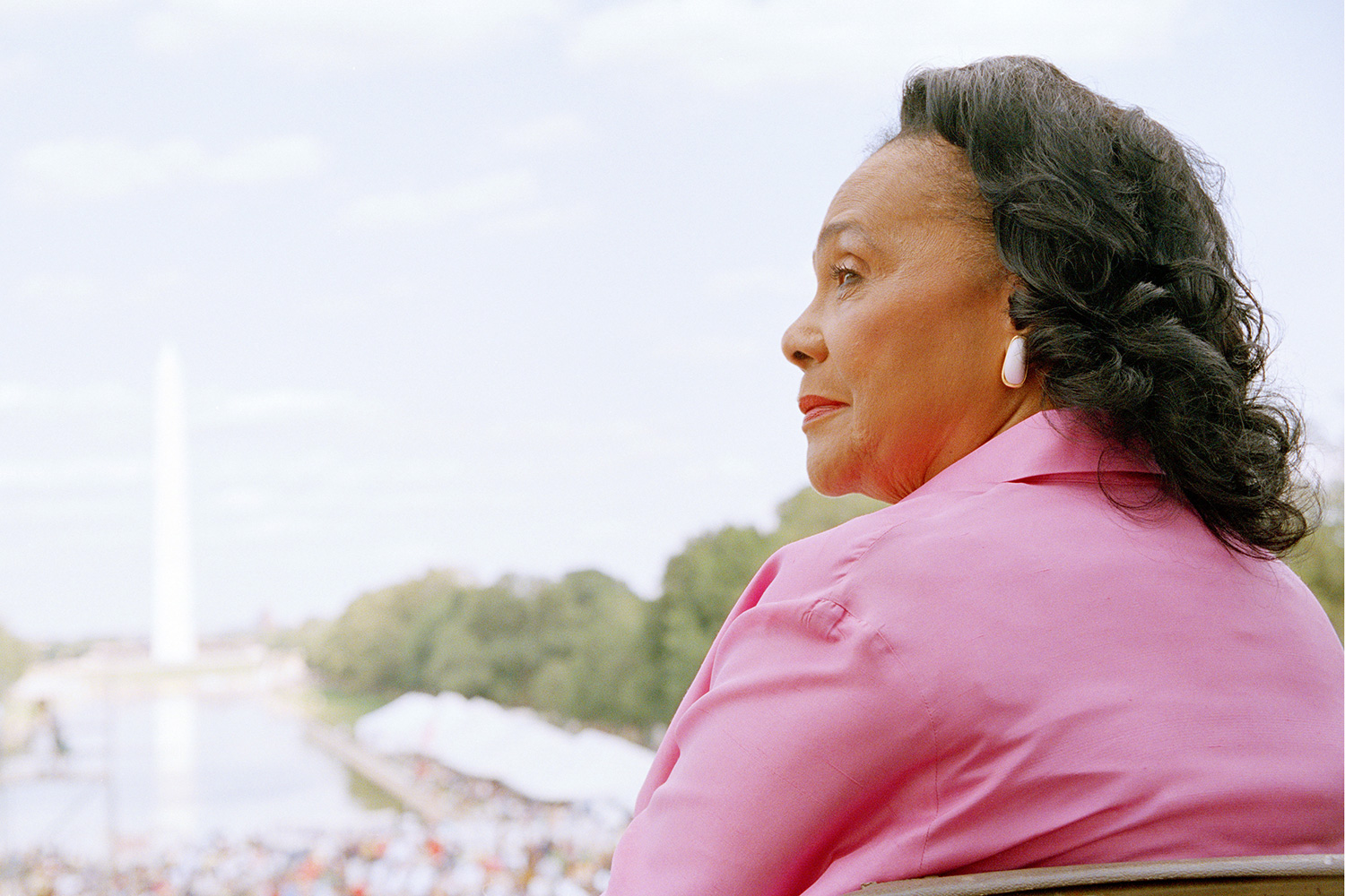 """Coretta Scott King attends a ceremony dedicating an engraved marker in honor of Dr. Martin Luther King Jr.'s """"I Have a Dream"""" speech on the steps of the Lincoln Memorial on the 40th anniversary of the March on Washington August 23, 2003 in Washington, DC"""
