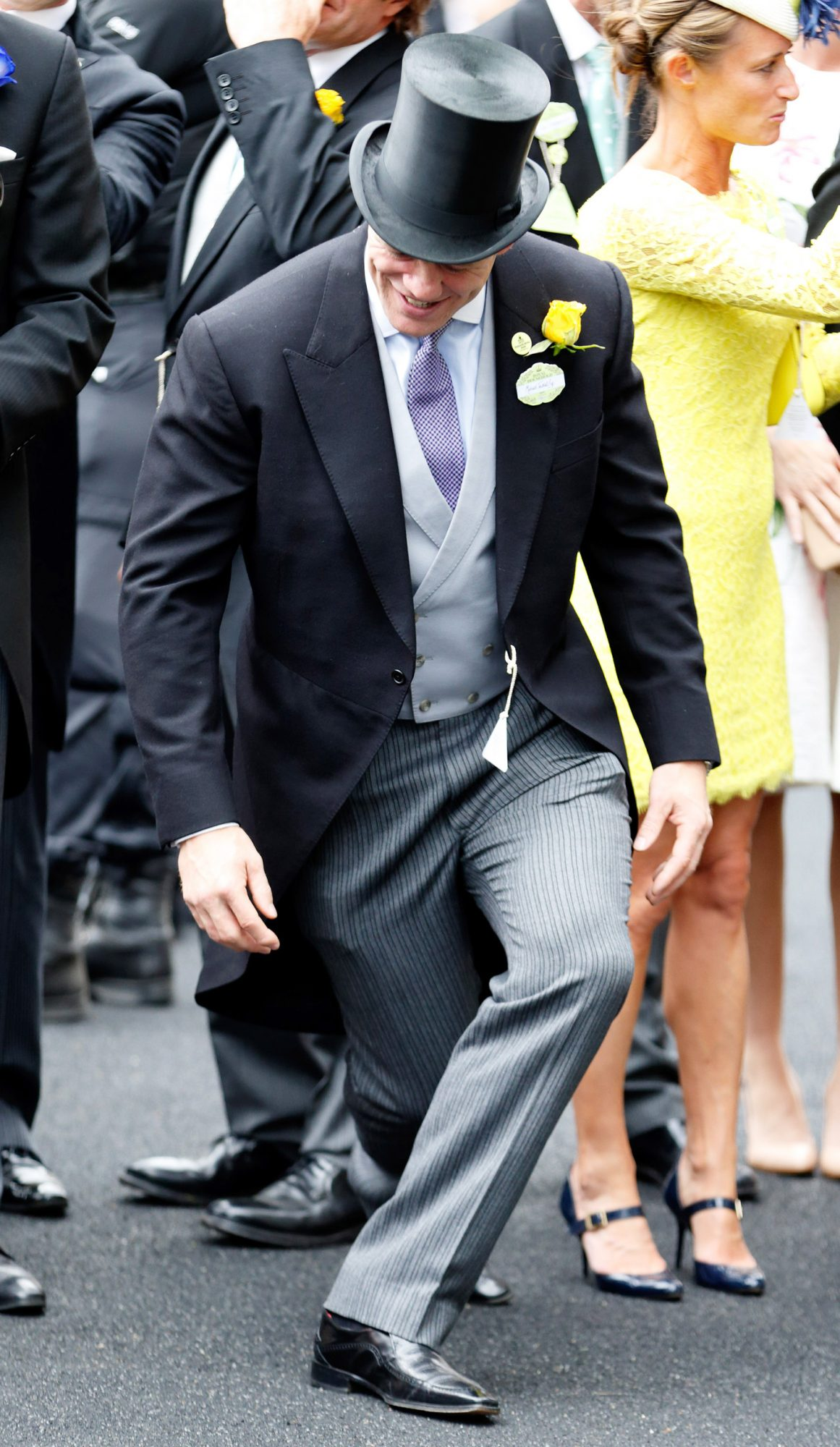 Mike Tindall attempts a curtsey as he attends day 1 of Royal Ascot at Ascot Racecourse on June 16, 2015 in Ascot, England