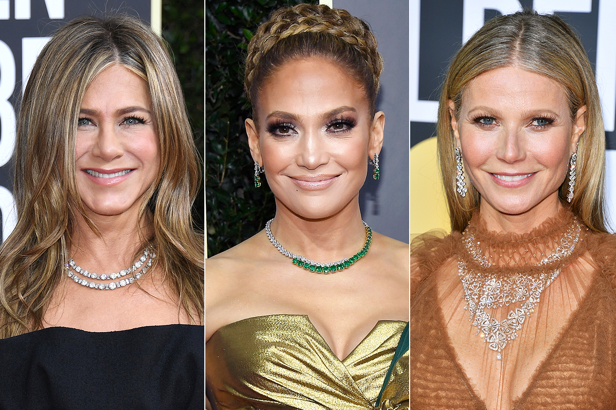 golden globes trends- double strand necklaces; jennifer aniston, jlo, gwyneth paltrow