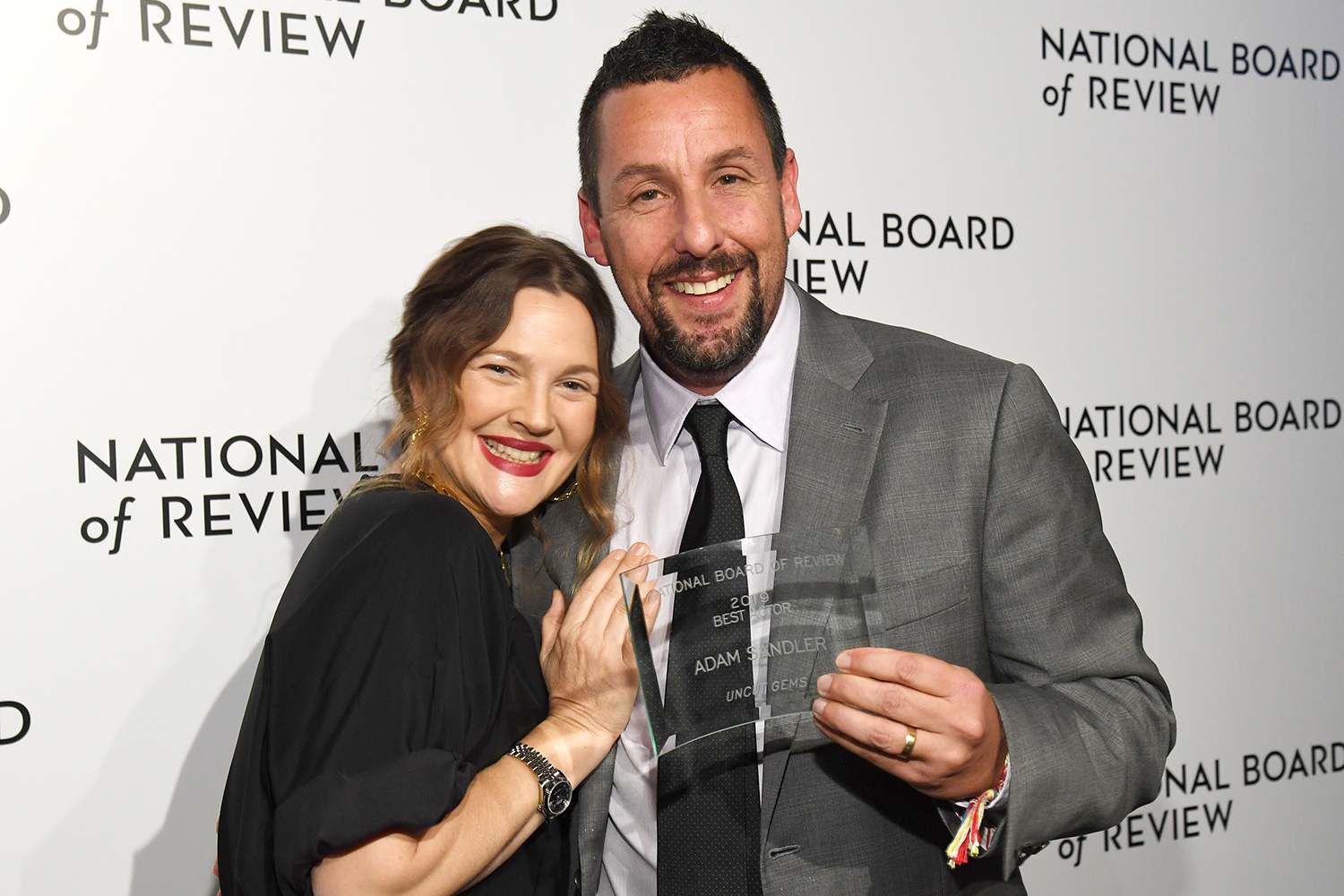 Drew Barrymore and Adam Sandler attend The National Board of Review Annual Awards Gala at Cipriani 42nd Street on January 08, 2020 in New York City