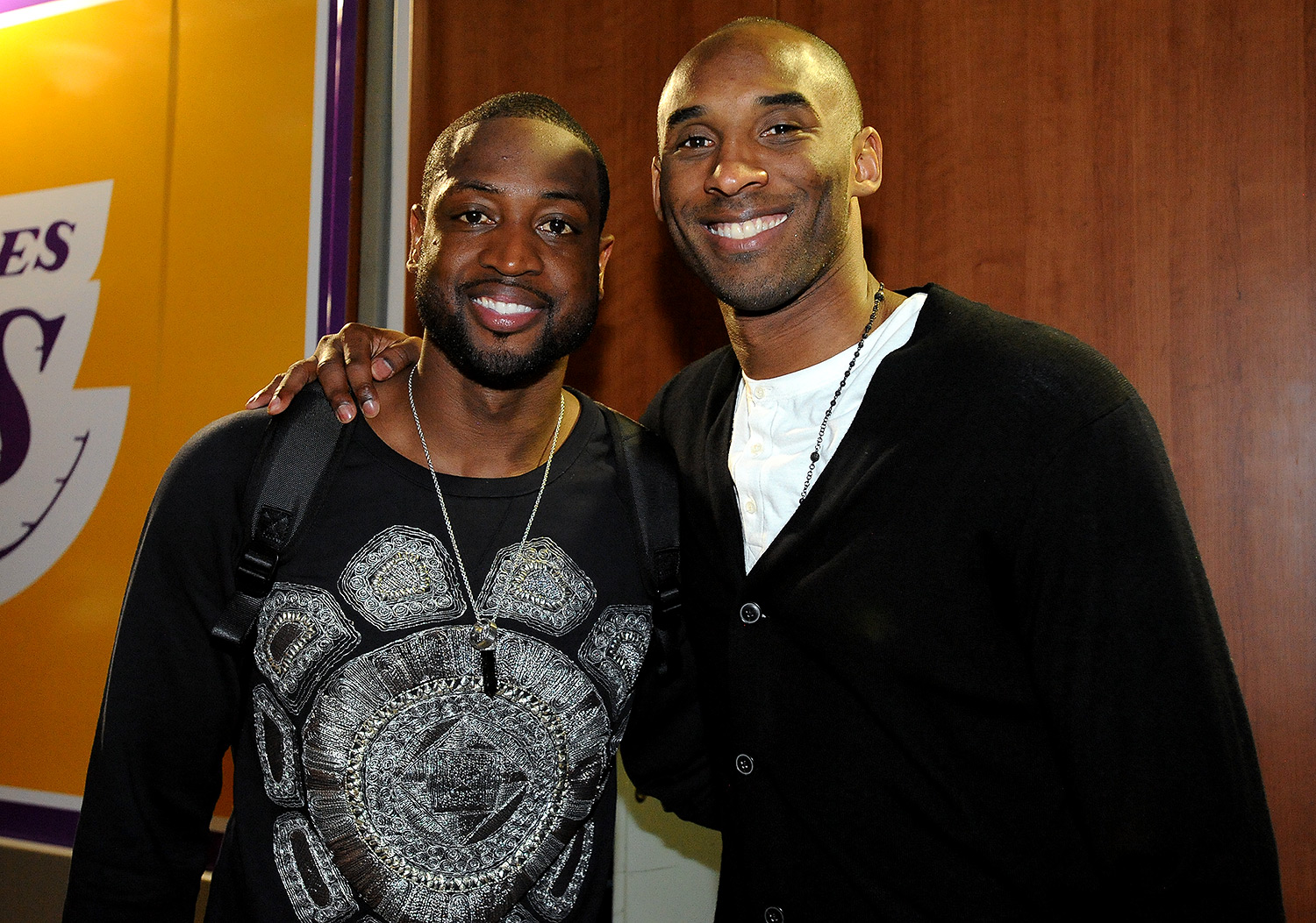 Dwyane Wade #3 of the Miami Heat and Kobe Bryant #24 of the Los Angeles Lakers