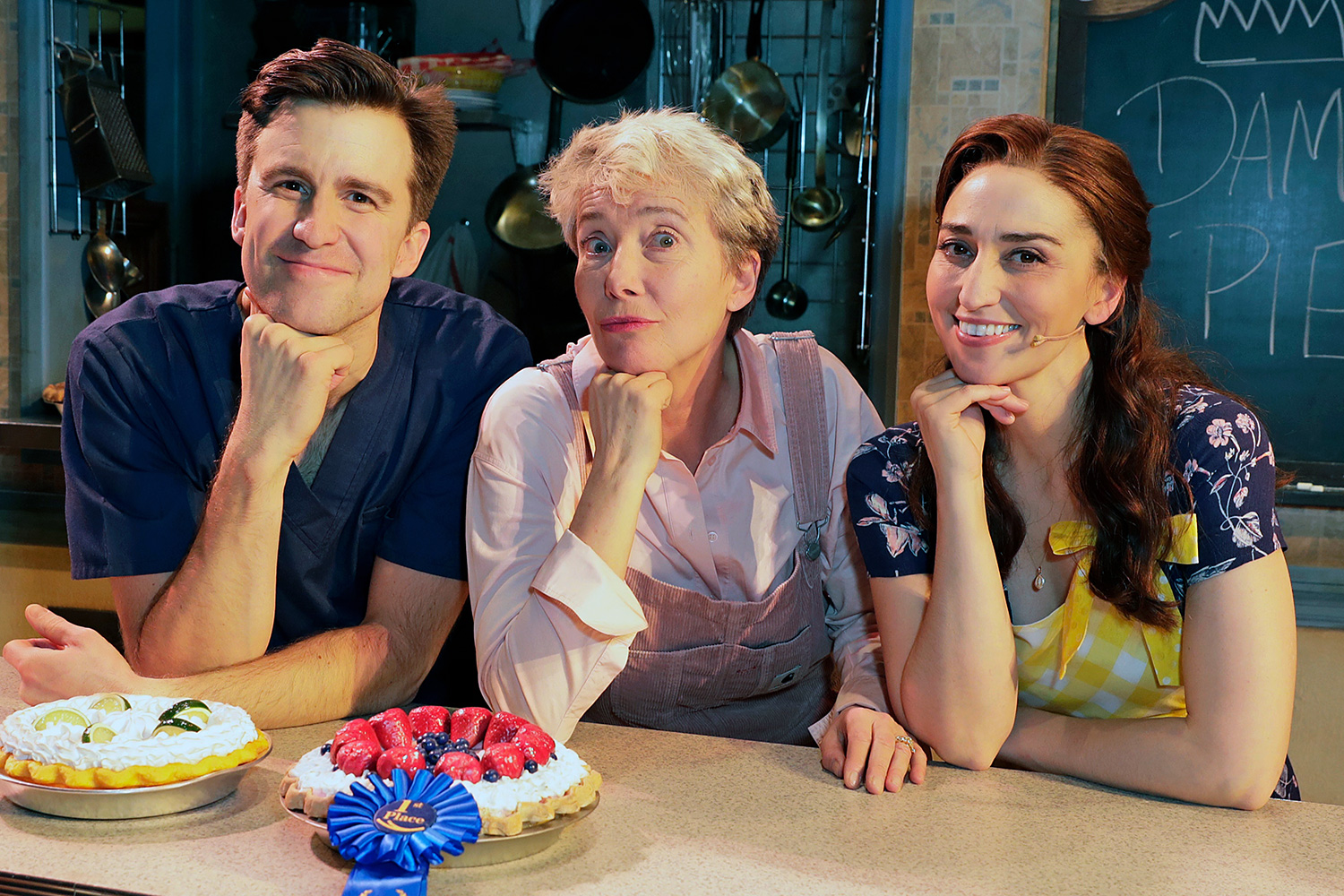 """Gavin Creel, Dame Emma Thompson and Sara Bareilles pose backstage with cast members of the West End production of """"Waitress: The Musical"""" at The Adelphi Theatre on January 28, 2020 in London, England"""