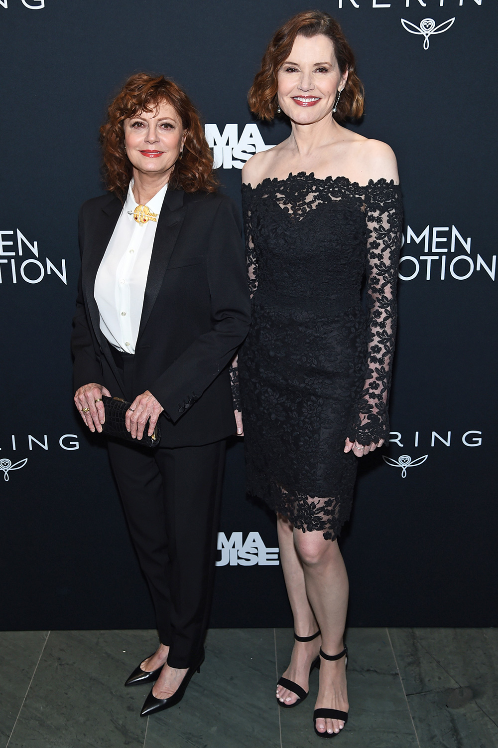 """Susan Sarandon and Geena Davis attend the screening of """"Thelma & Louise"""" Women In Motion at Museum of Modern Art on January 28, 2020 in New York City"""