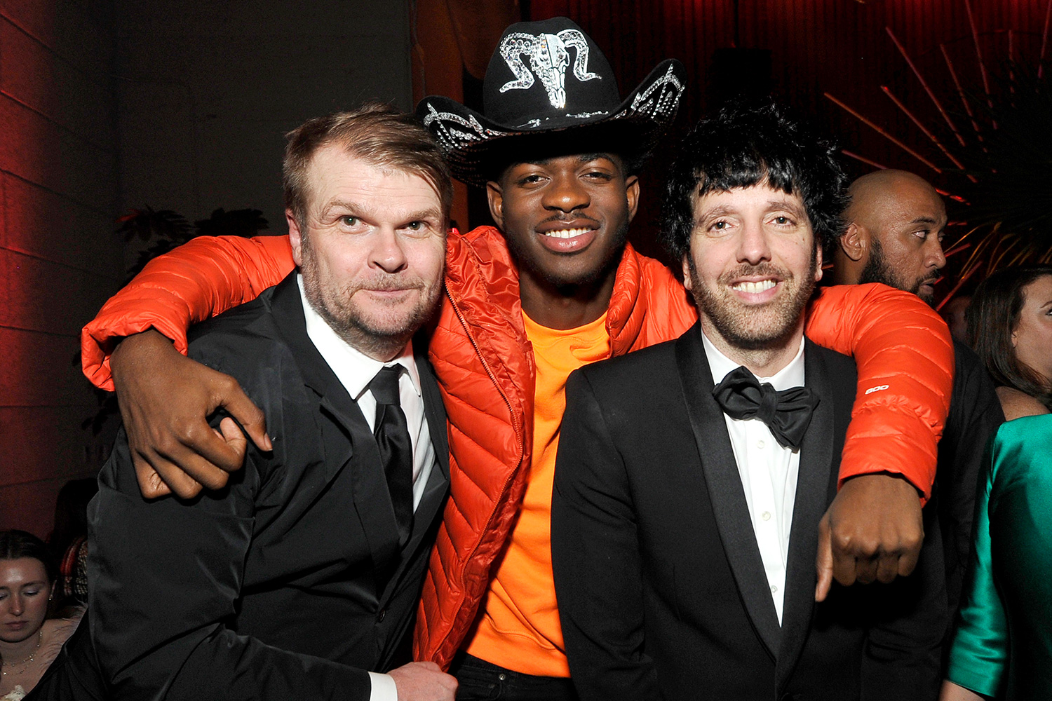 Sony Music Group Chairman Rob Stringer, Lil Nas X, and Columbia Chairman & CEO Ron Perry