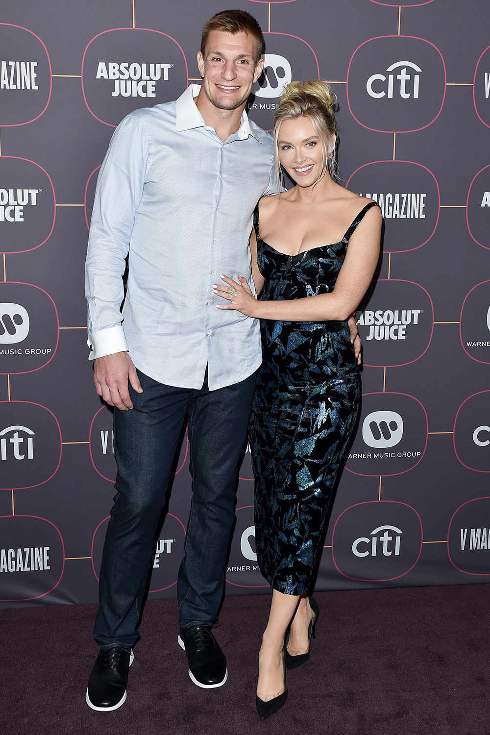 Rob Gronkowski and Camille Kostek attend Warner Music Group Pre-Grammy Party 2020 at Hollywood Athletic Club on January 23, 2020 in Hollywood, California