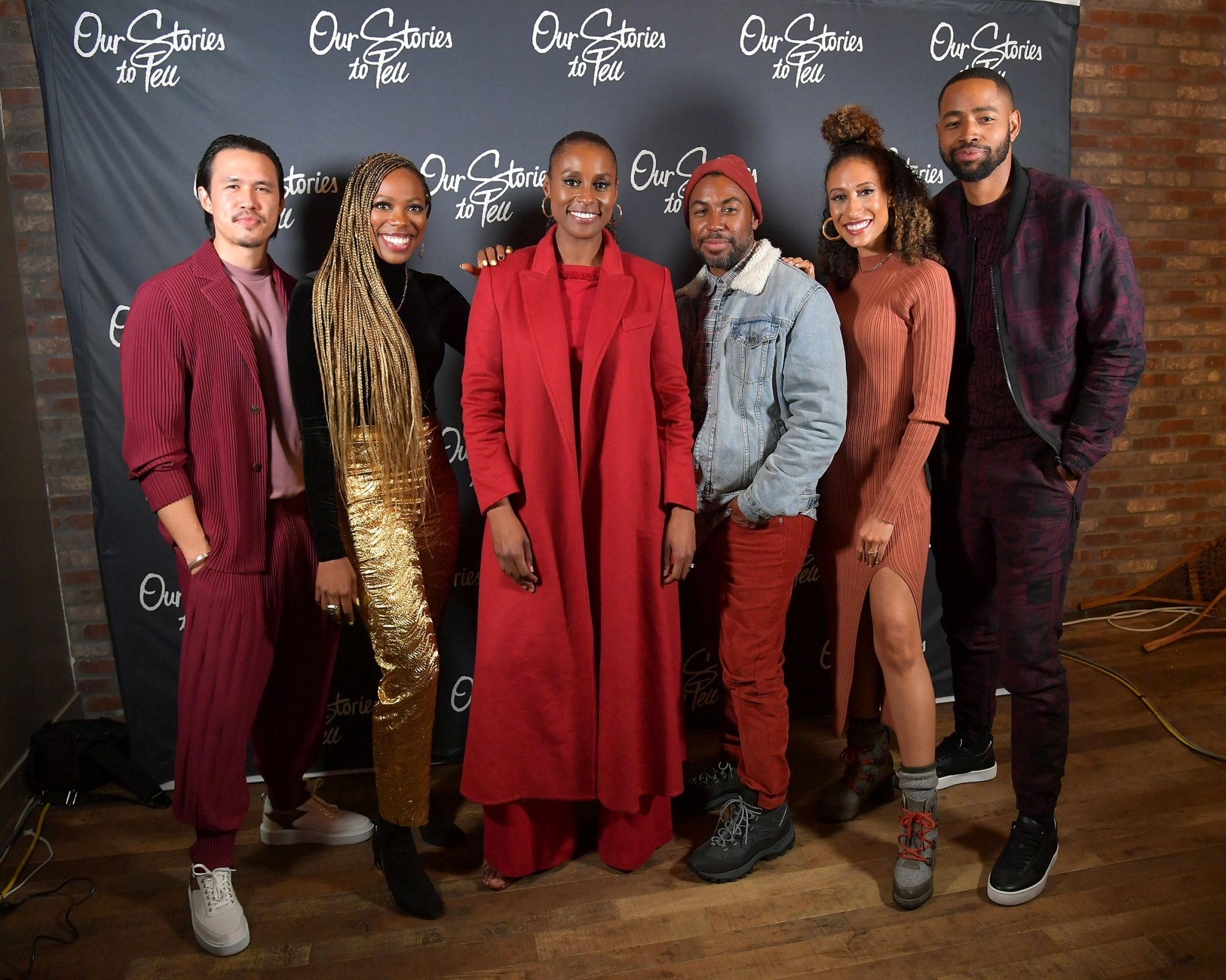 """Alexander Hodge, Yvonne Orji, Issa Rae, Prentice Penny, Elaine Welteroth and Jay Ellis pose at the Lowkey """"Insecure"""""""