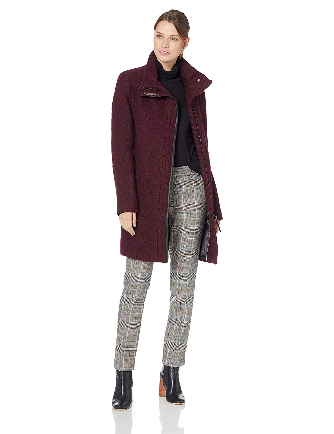 Calvin Klein Women's Wool Coat with Tunnel Collar and Pu Trim, Snap Bar Detail at Neck