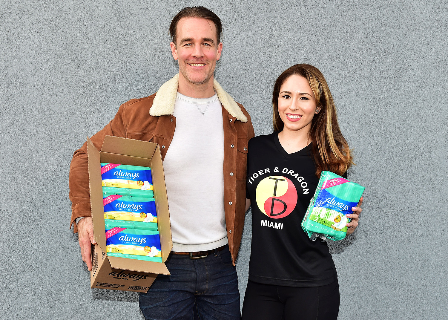 James Van Der Beek joins Always and Walmart`s efforts to help #EndPeriodPoverty and keep girls in the confidence building activities they love with a donation at an LA community center