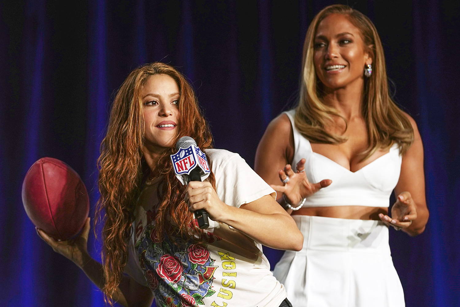 Pepsi Super Bowl LIV Halftime Show Performers Jennifer Lopez and Shakira Press Conference NFL Super Bowl LIV, Half Time Show Press Conference, Miami, Florida, USA - 30 Jan 2020