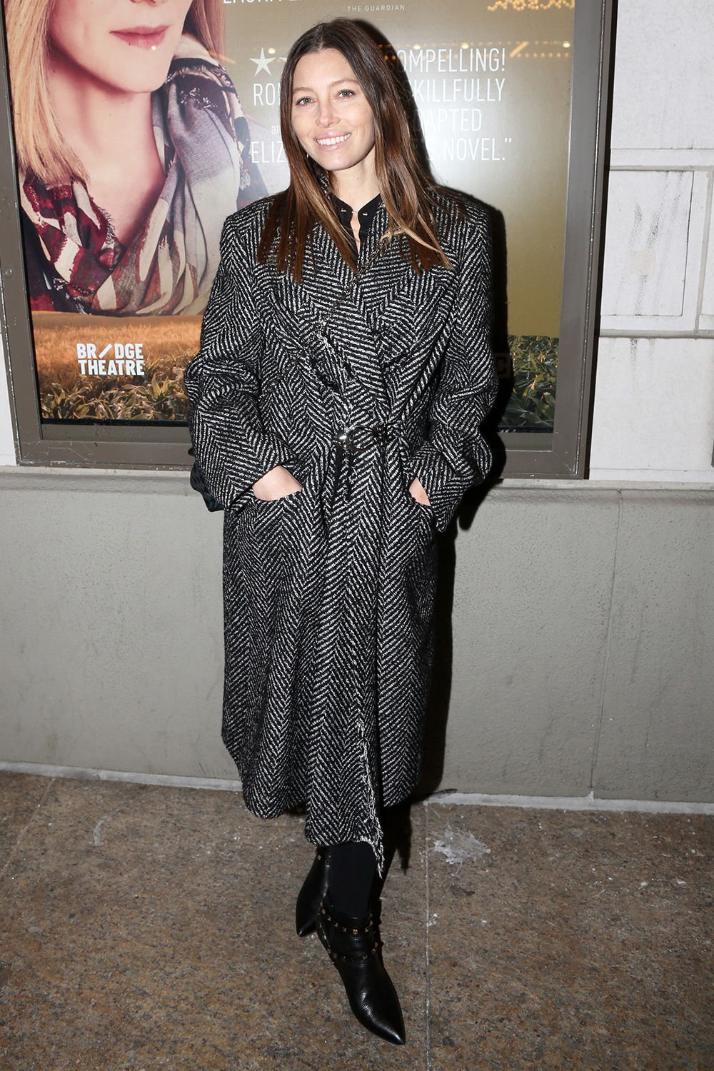 """Jessica Biel poses at the hit Manhattan Theatre Club play """"My Name is Lucy Barton""""on Broadway at The Samuel J Friedman Theatre on January 21, 2020 in New York City"""