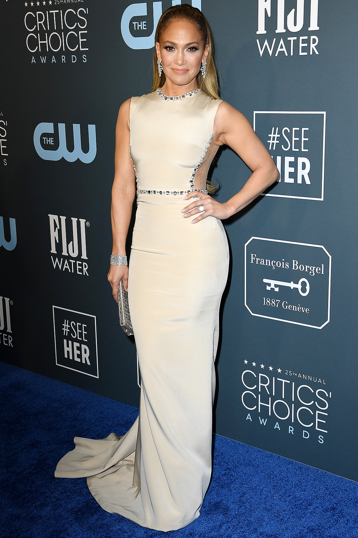 Jennifer Lopez arrives at the 25th Annual Critics' Choice Awards at Barker Hangar on January 12, 2020