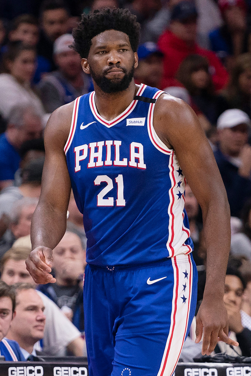 Joel Embiid #21 of the Philadelphia 76ers points against the Oklahoma City Thunder in the second quarter at the Wells Fargo Center on January 6, 2020 in Philadelphia, Pennsylvania