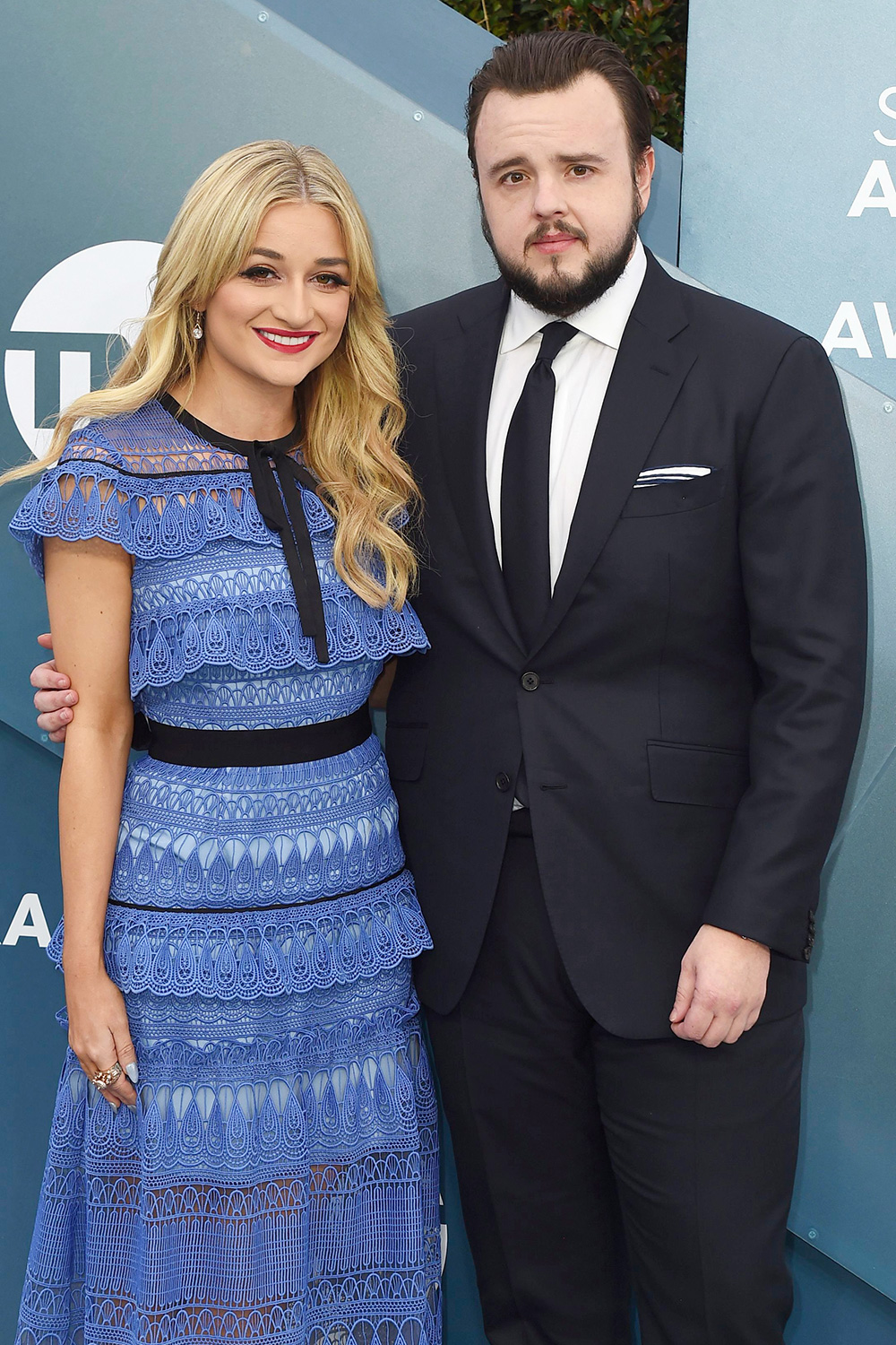 Rebecca April May, left, and John Bradley arrive at the 26th annual Screen Actors Guild Awards at the Shrine Auditorium & Expo Hall, in Los Angeles 26th Annual SAG Awards - Arrivals, Los Angeles, USA - 19 Jan 2020