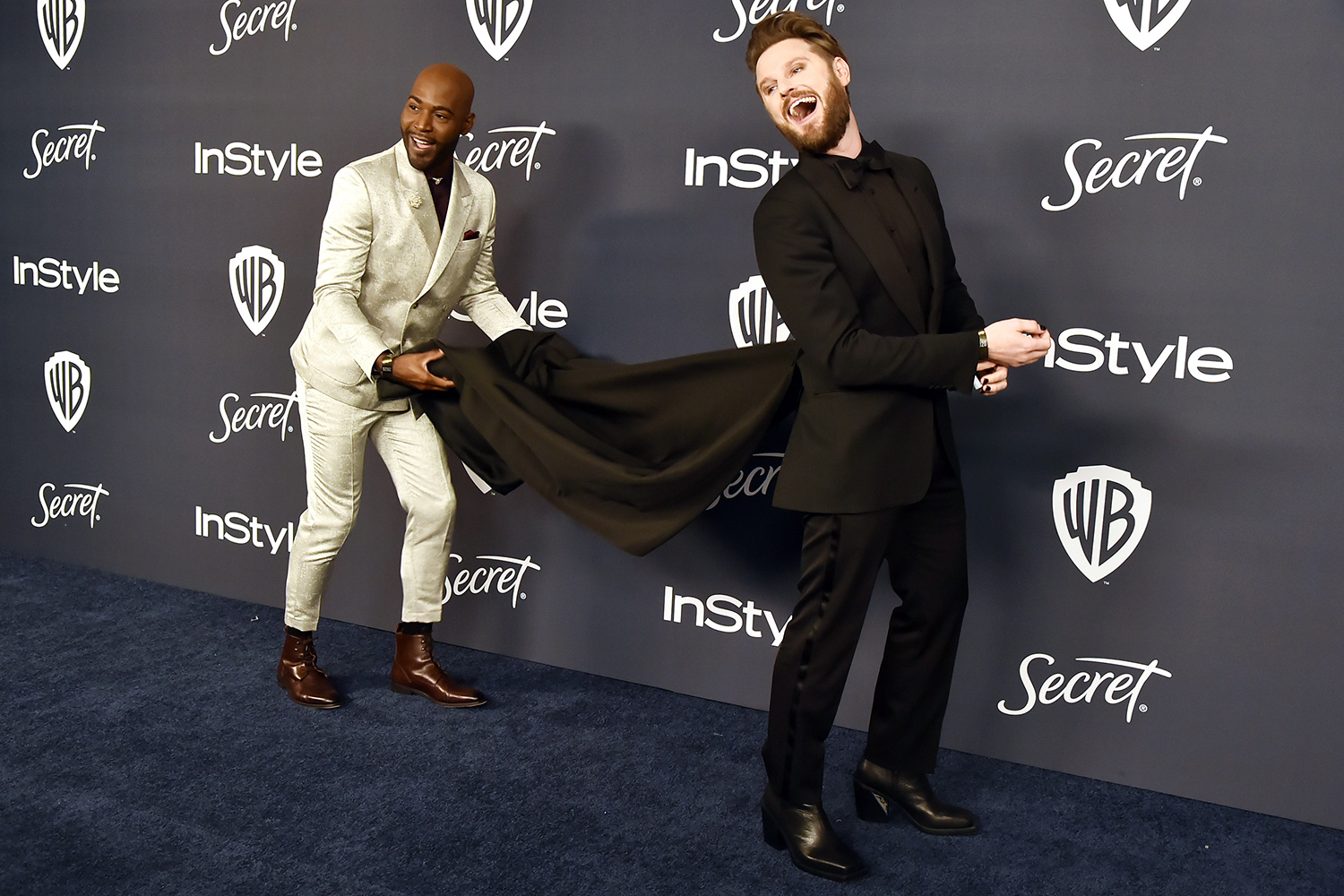 Bobby Berk and Karamo Brown attend the Warner Brothers and InStyle 21st Annual Post Golden Globes After Party Sponsored By L'Oreal Paris & Secret at Beverly Hills Hotel on January 05, 2020 in Beverly Hills