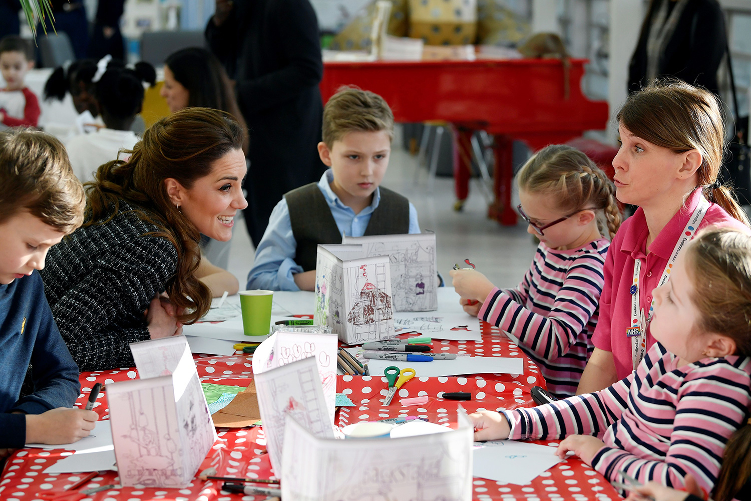Catherine, Duchess of Cambridge interacts with children at a creative workshop run by the National Portrait Gallerys Hospital Programme during a visit to the Evelina London Childrens Hospital in London on January 28, 2020