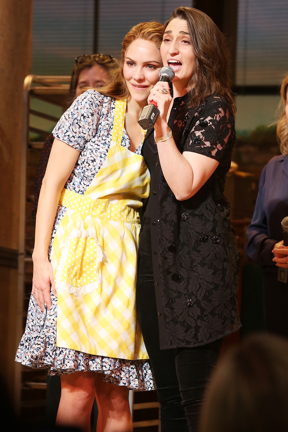 Katharine McPhee, Sara Bareilles at the Final performance curtain call for Waitress, on Broadway at the Brooks Atkinson Theatre
