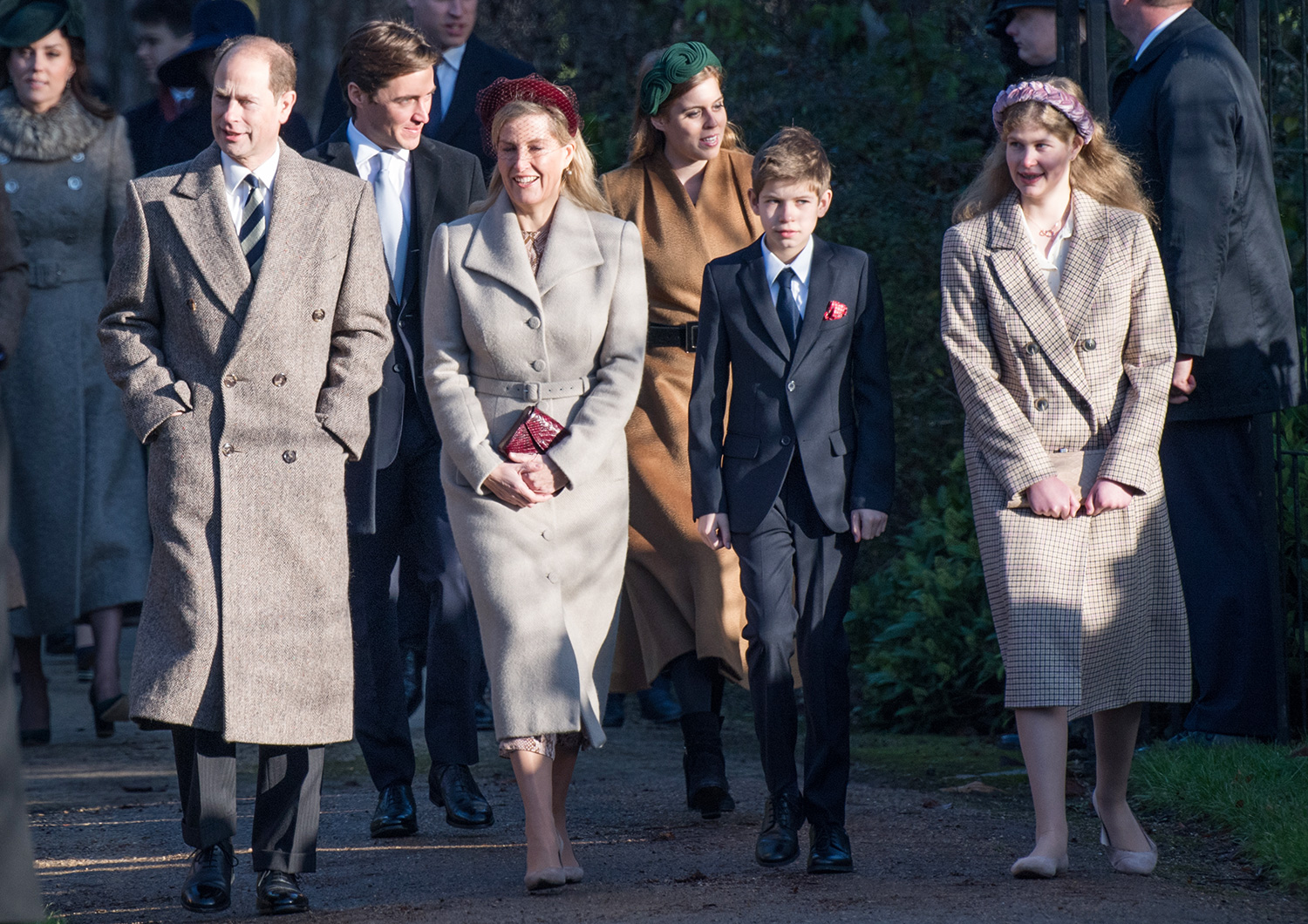 Prince Edward, Earl of Wessex and Sophie, Countess of Wessex with James Viscount Severn and Lady Louise Windsor attend the Christmas Day Church service at Church of St Mary Magdalene on the Sandringham estate on December 25, 2019 in King's Lynn, United Kingdom