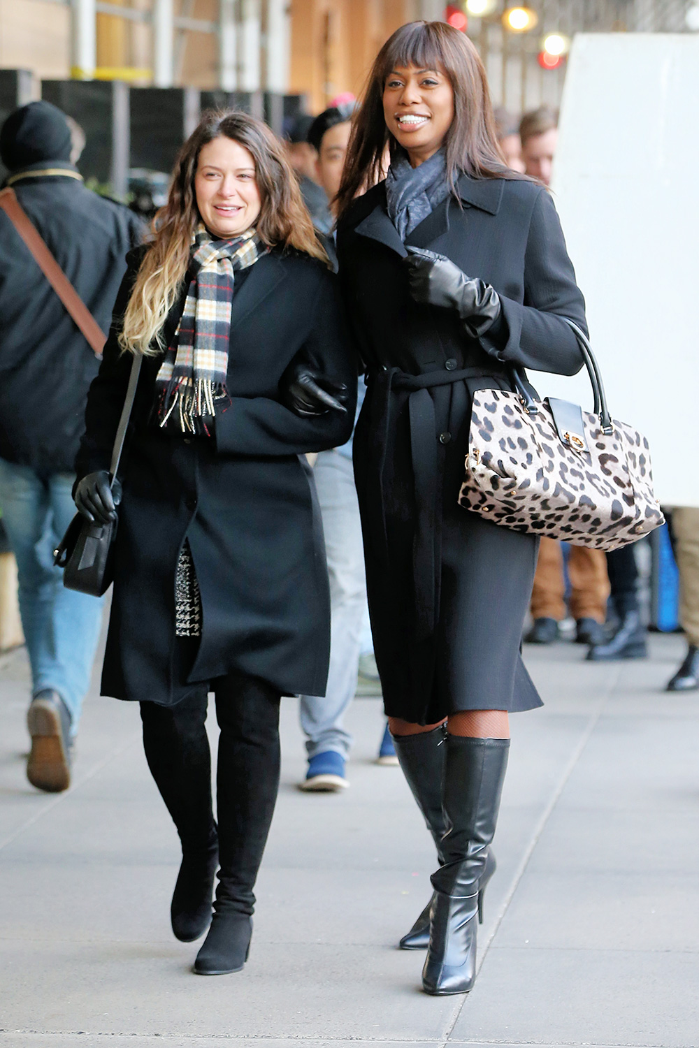 Laverne Cox and Katie Lowes film 'Untitled Anna Delvey' near Central Park in New York City