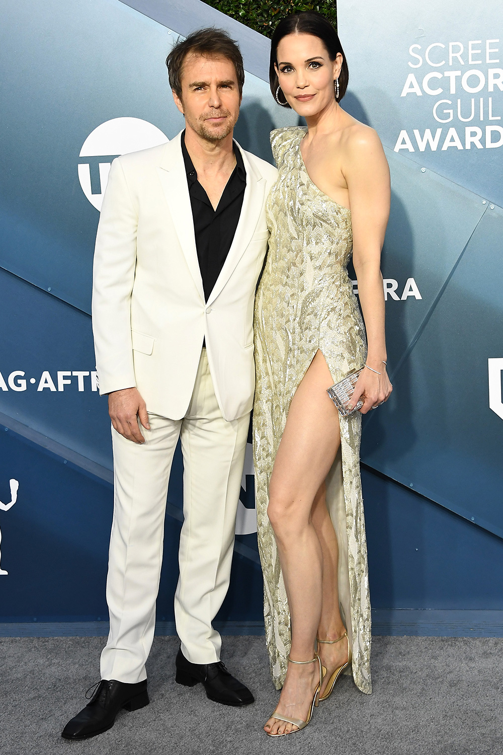 Sam Rockwell and Leslie Bibb attend the 26th Annual Screen ActorsGuild Awards at The Shrine Auditorium on January 19, 2020 in Los Angeles, California
