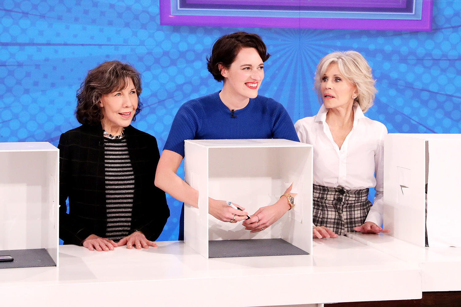 """Phoebe Waller-Bridge and Hollywood icons and stars of """"Grace and Frankie"""" Jane Fonda and Lily Tomlin fill in as guest hosts on """"The Ellen DeGeneres Show"""" airing Friday, January 17th"""
