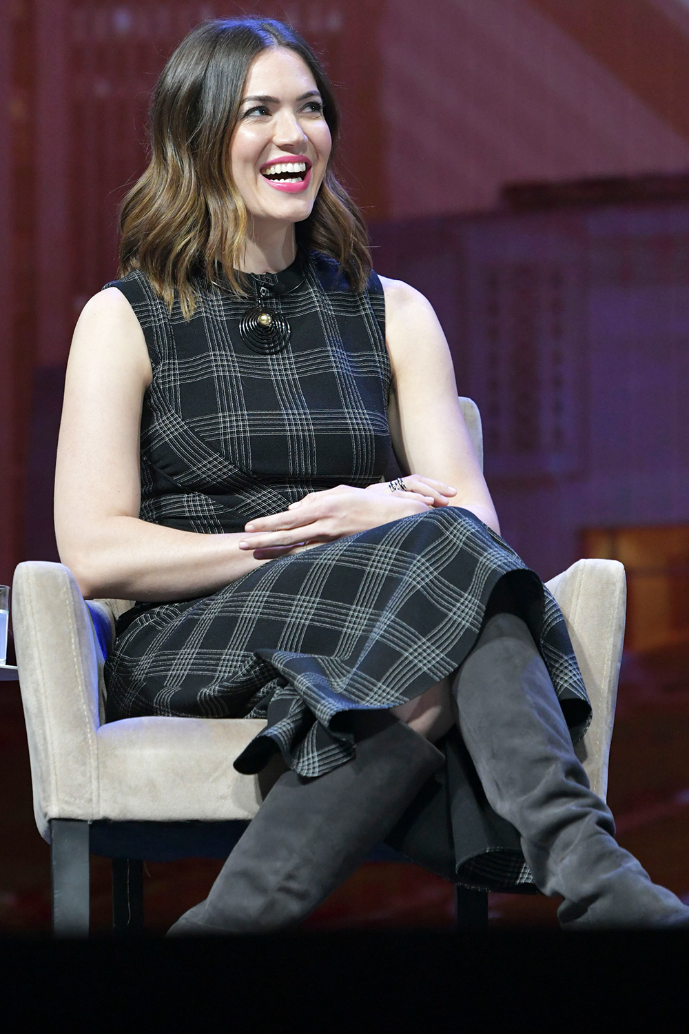 Mandy Moore at the NBCUniversal Keynote 'If TV Was Invented Today: NBCUniversal Reimagines the Future of Entertainment' panel During CES 2020 at The Park Theater at Park MGM in Las Vegas, Nevada on January 8, 2020