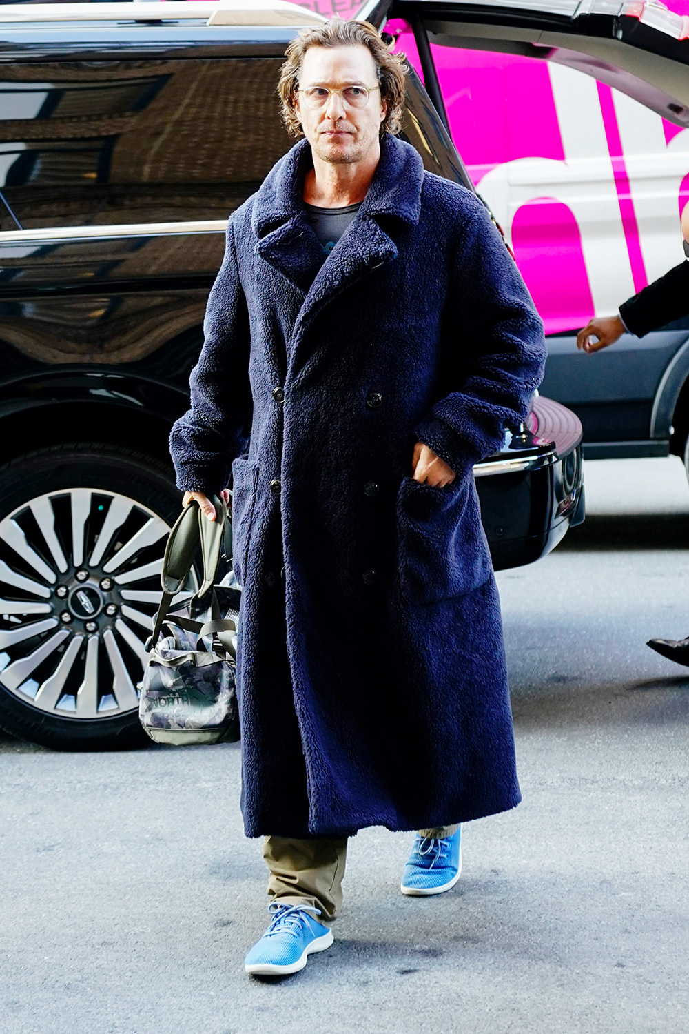 Matthew McConaughey wears an unique bathrob-looking coat when out and about in New York