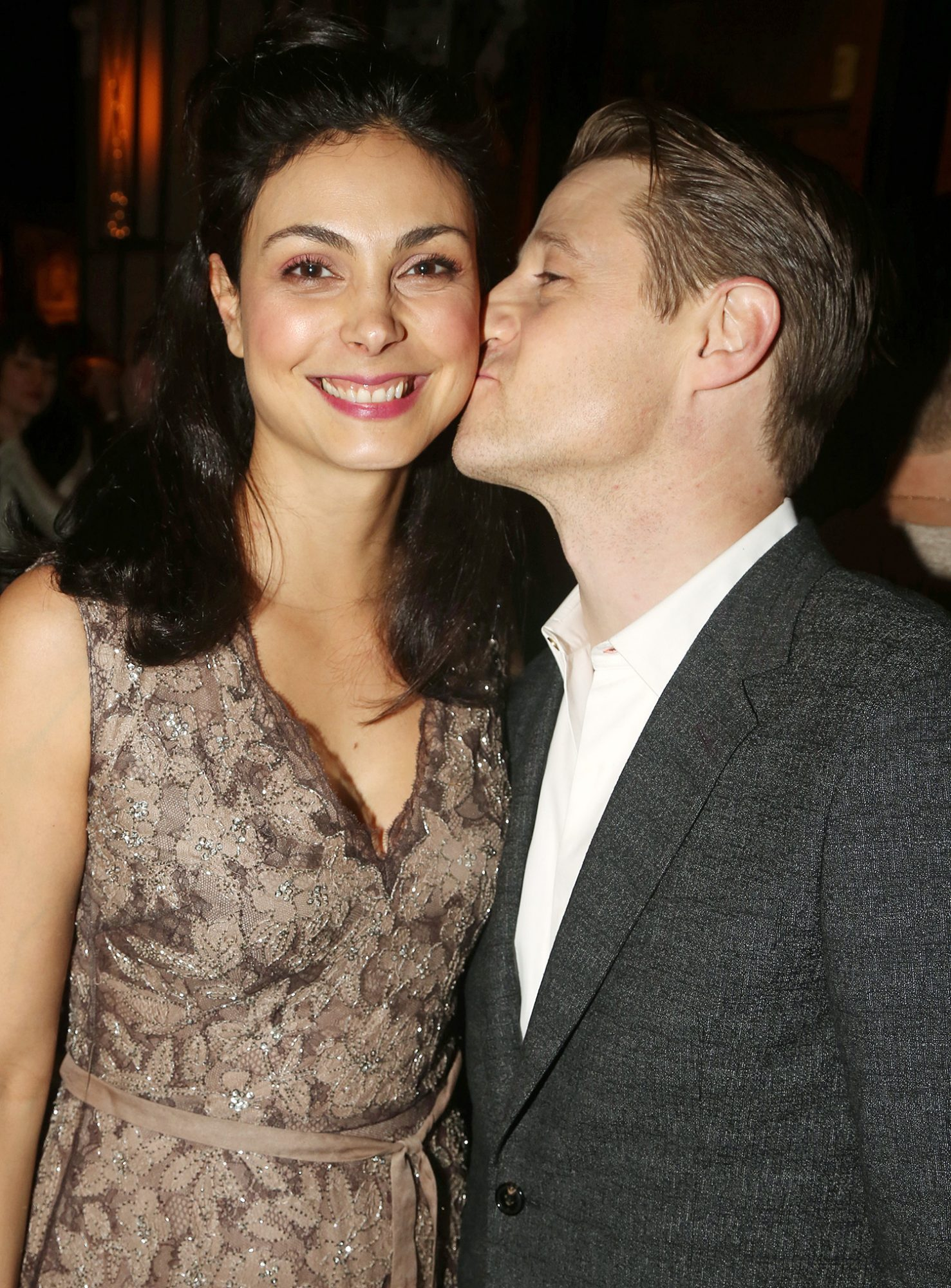 """Morena Baccarin and Ben McKenzie pose at the opening night after party for the new Second Stage play """"Grand Horizons"""" on Broadway at The Ribbon on January 23, 2020 in New York City"""