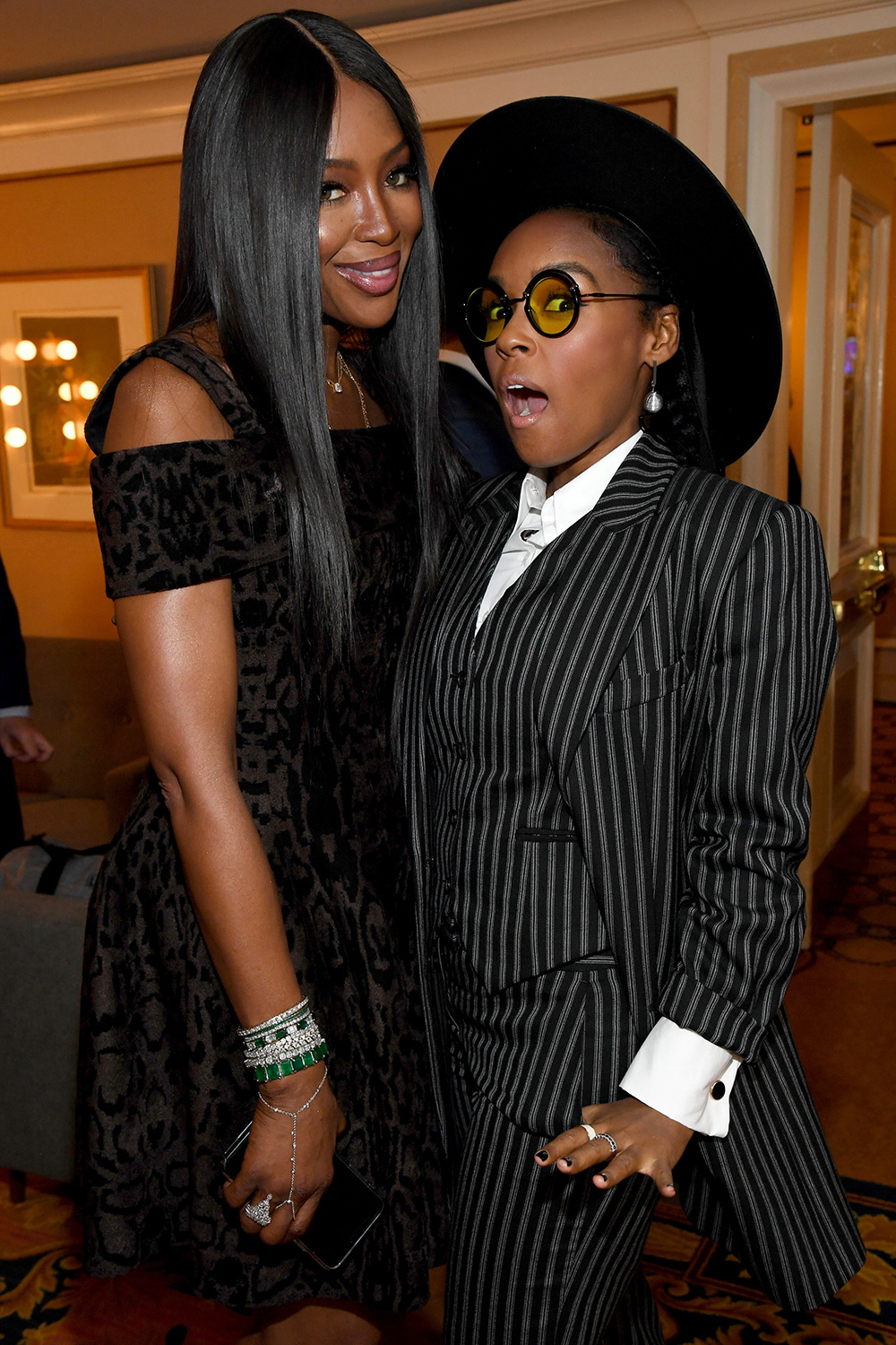 Naomi Campbell and Janelle Monáe attend the Amazon Studios 2020 Winter TCA Press Tour at Langham Hotel on January 14, 2020 in Pasadena, California