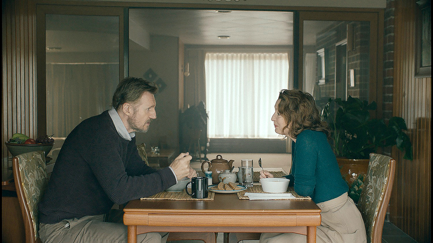 Liam Neeson (left) and Lesley Manville (right) star in ORDINARY LOVE,