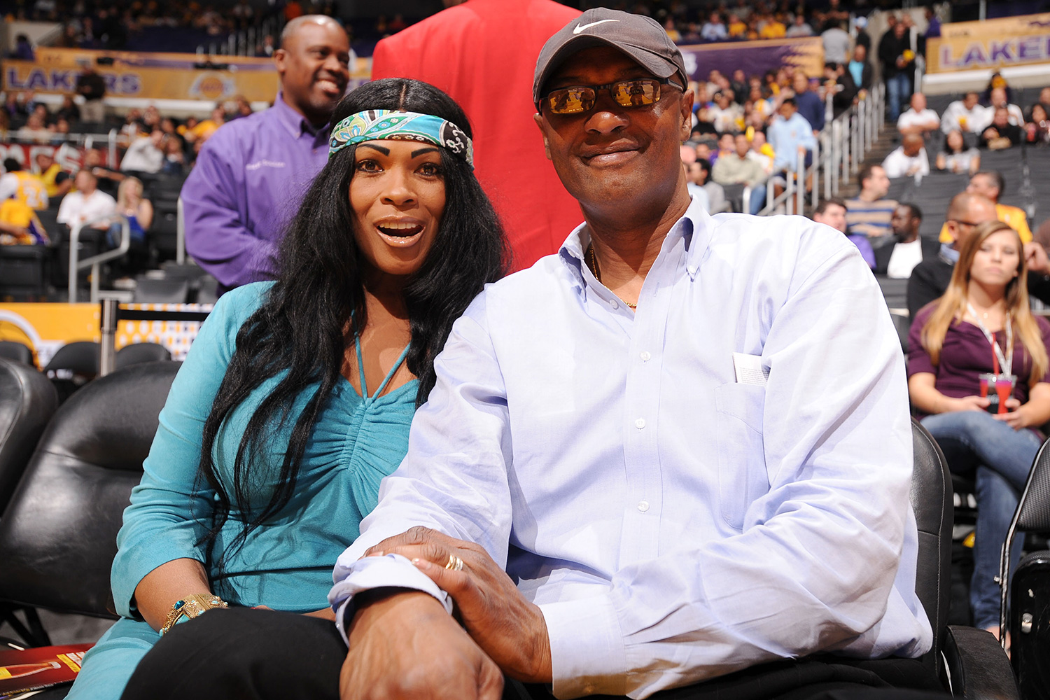 Pam and Joe Bryant, parents of Kobe Bryant #24 of the Los Angeles Lakers, attend a game between the Oklahoma City Thunder and the Los Angeles Lakers in Game Five of the Western Conference Quarterfinals during the 2010 NBA Playoffs at Staples Center on April 27, 2010 in Los Angeles