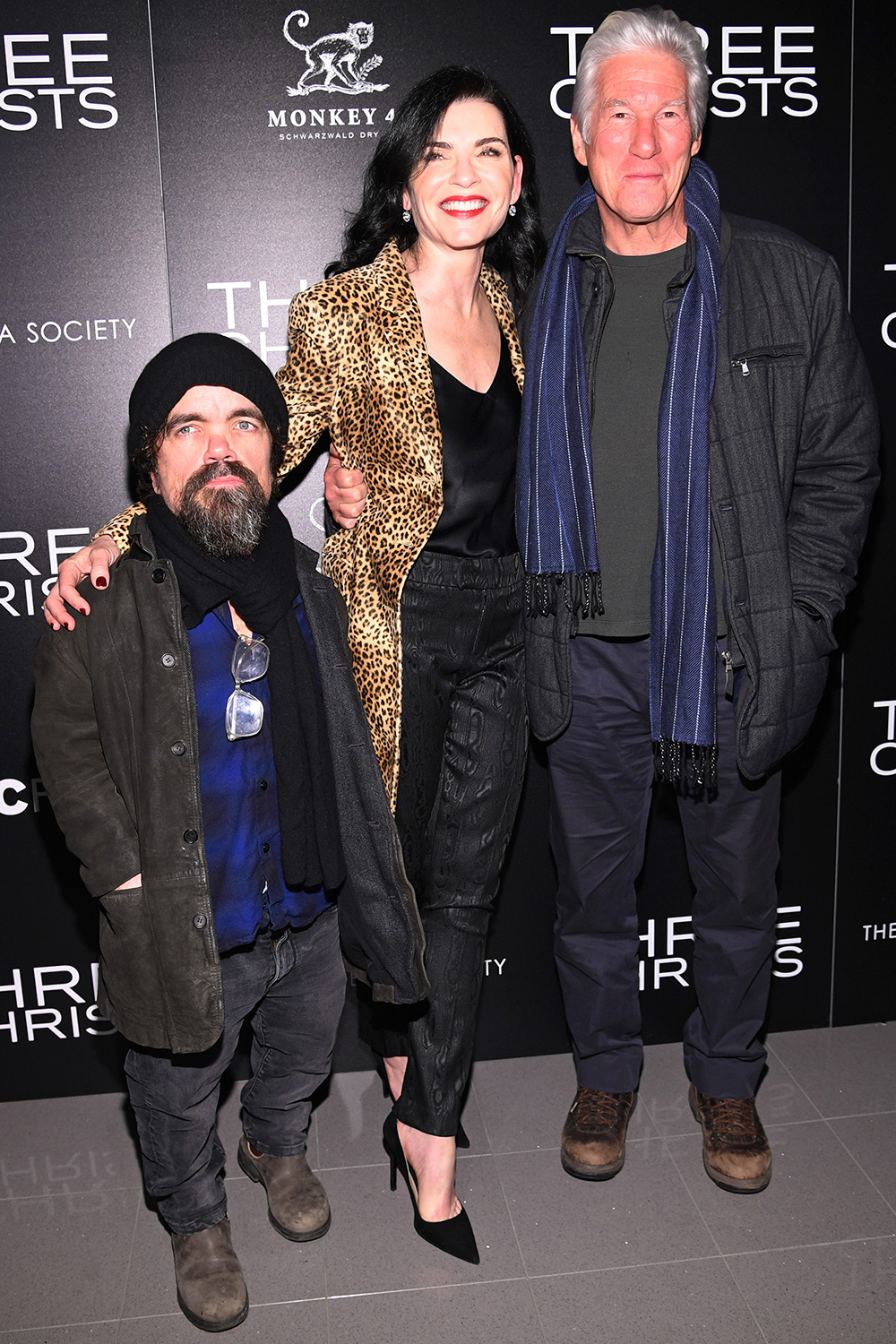 """Peter Dinklage, Julianna Margulies and Richard Gere attend a screening of """"Three Christs"""" hosted by IFC and the Cinema Society at Regal Essex Crossing on January 09, 2020 in New York City"""