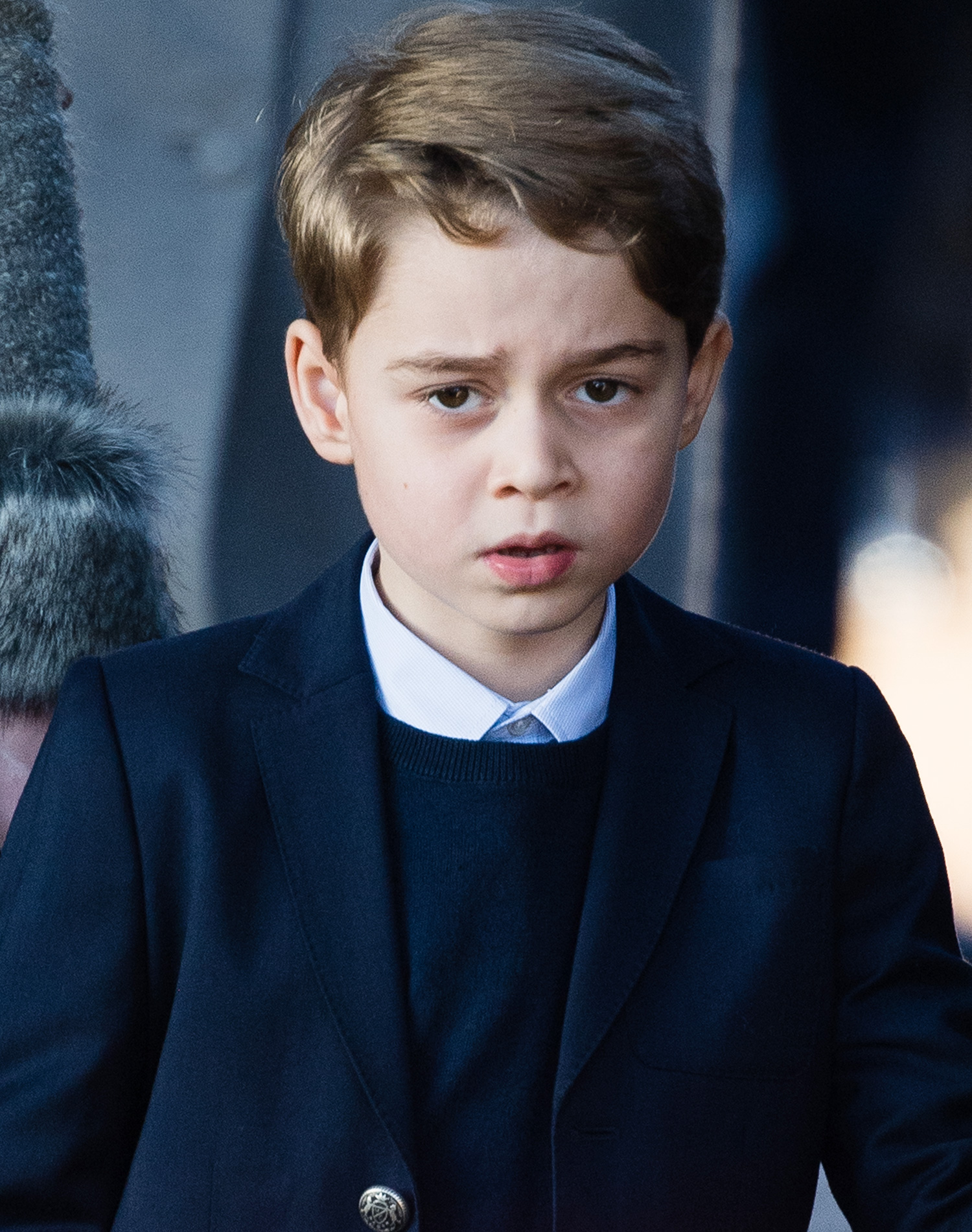 Prince George of Cambridge attends the Christmas Day Church service at Church of St Mary Magdalene on the Sandringham estate on December 25, 2019 in King's Lynn, United Kingdom
