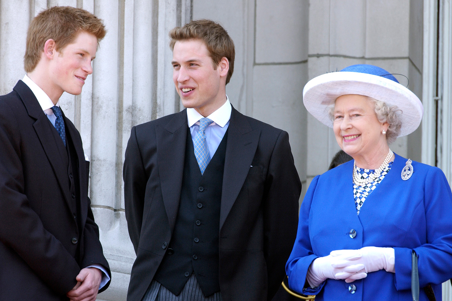 Queen Elizabeth II Laughs With Her Grandsons Prince William And Prince Harry On The Balcony Of Buckingham Palace After The Trooping The Colour Parade