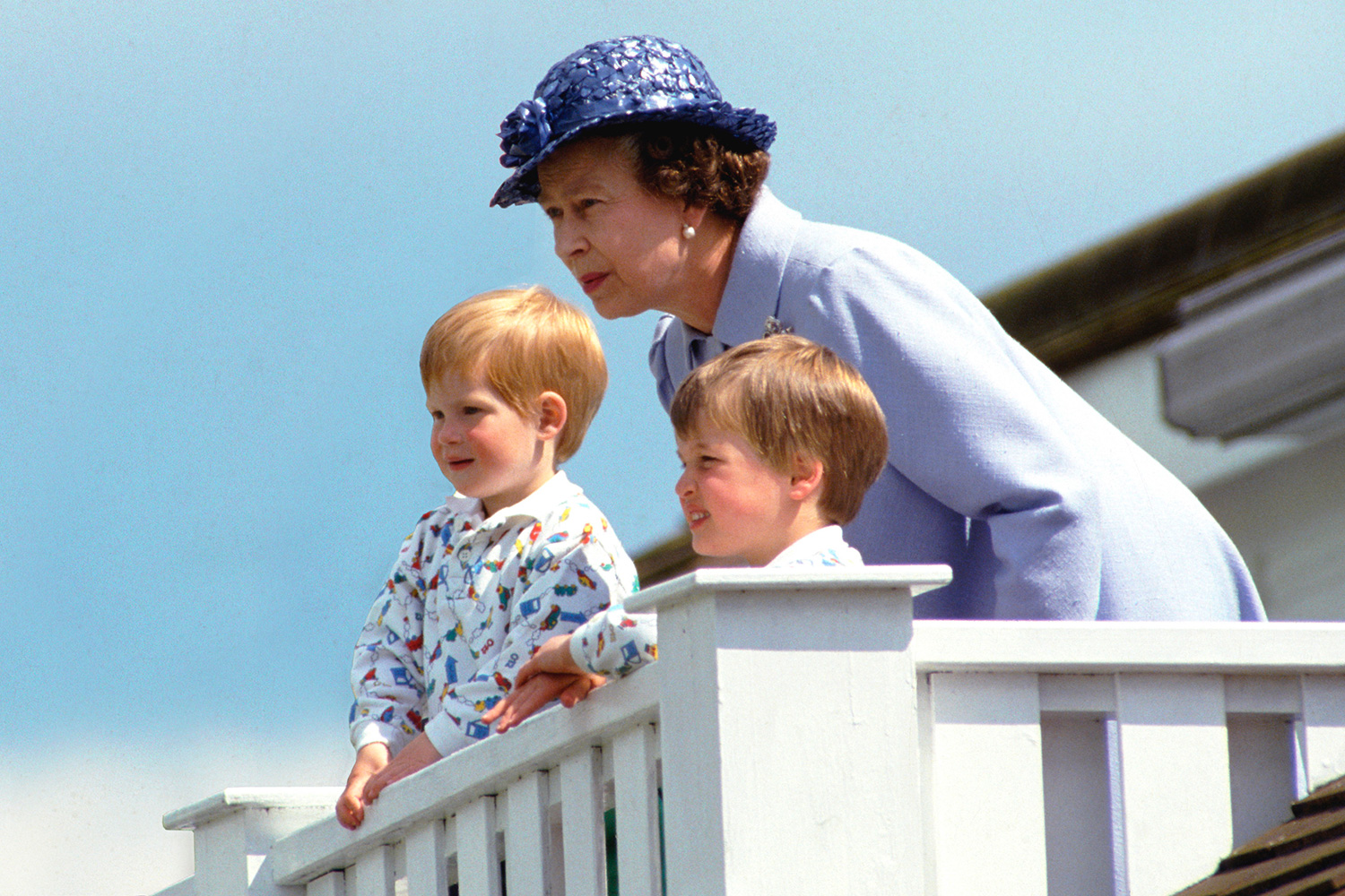 The Queen With Prince William And Prince Harry In The Royal Box At Guards Polo Club, Smiths Lawn, Windsor