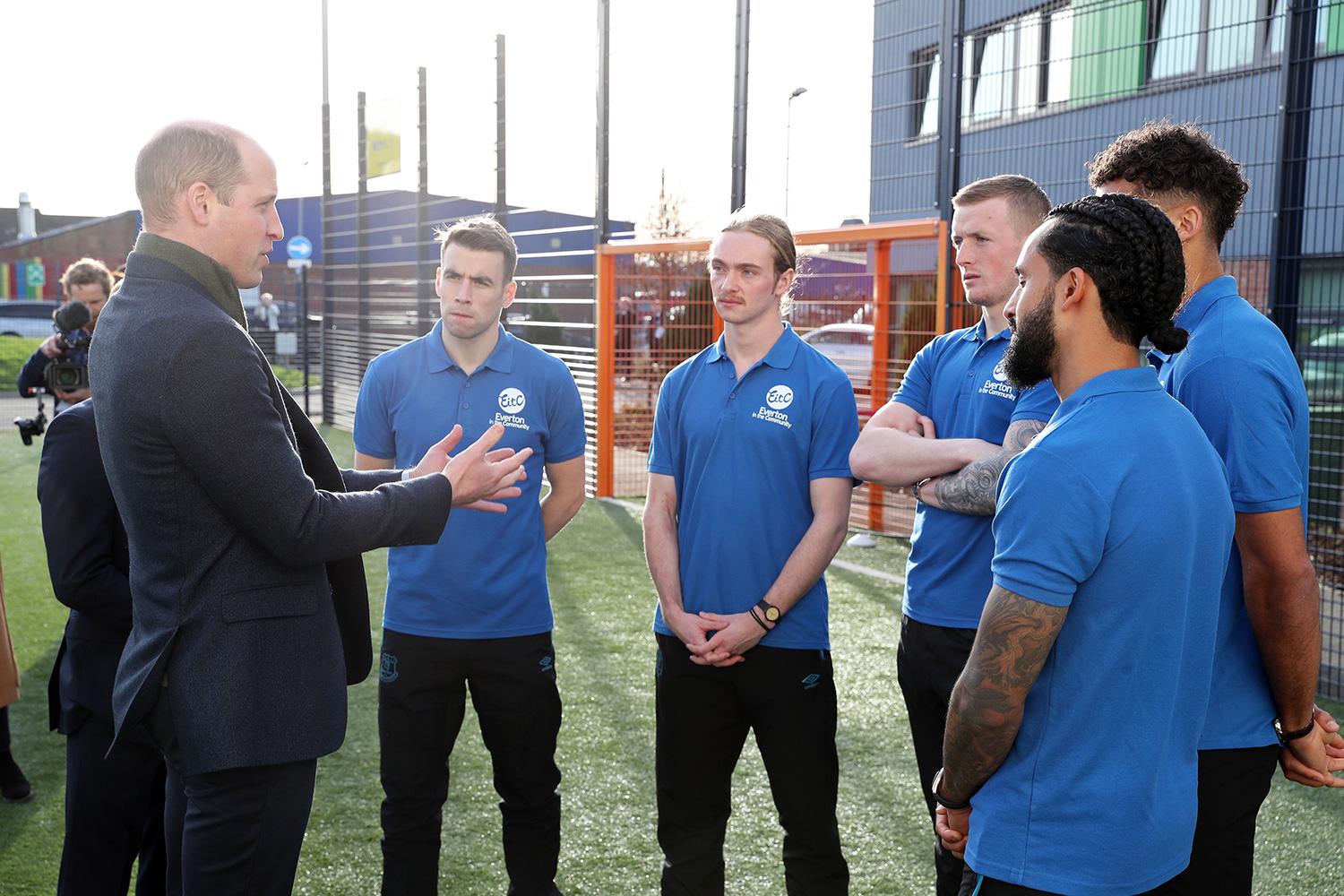 Prince William, Duke of Cambridge talks to players of Everton F.C. Seamus Coleman, Tom Davies, Jordan Pickford, Dominic Calvert-Lewin and Theo Walcott during his visit Everton Football Club's official charity Everton in the Community as part of the Heads Up campaign on January 30, 2020 in Liverpool, England. HRH is President of the Football Association