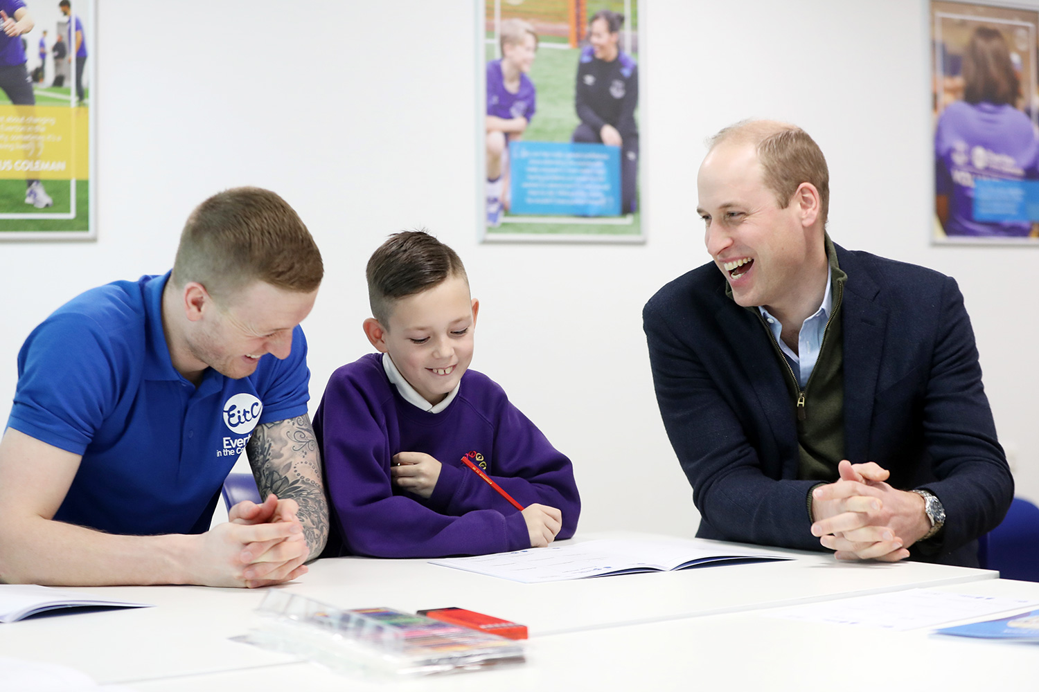 Prince William, Duke of Cambridge plays Emoji Bingo with kids of Springwell Park Community Primary School during his visit at Everton Football Club's official charity Everton in the Community as part of the Heads Up campaign on January 30, 2020 in Liverpool