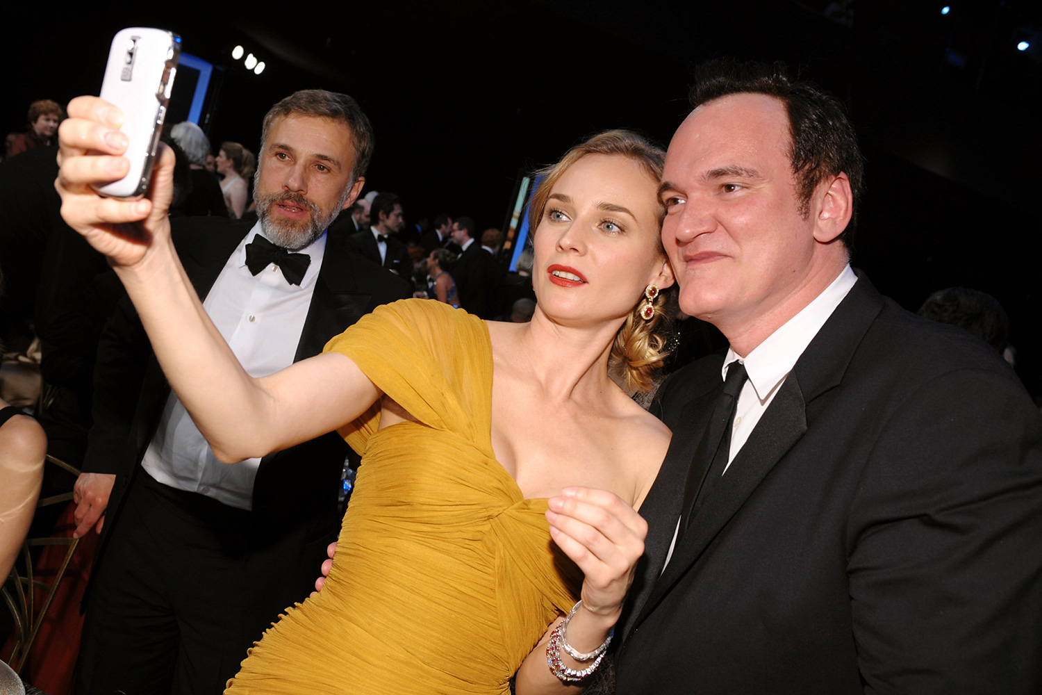 Christoph Waltz and Diane Kruger and director Quentin Tarantino attend the TNT/TBS broadcast of the 16th Annual Screen Actors Guild Awards at the Shrine Auditorium on January 23, 2010 in Los Angeles, California