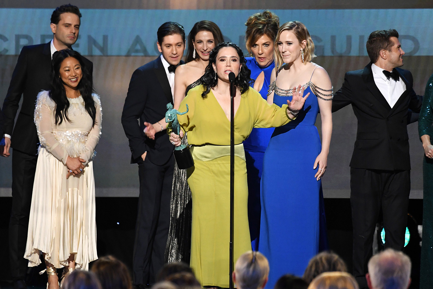 "The cast of ""The Marvelous Mrs. Maisel"" accepts the awards for best Ensamble in a Comedy Series during the 26th Annual Screen Actors Guild Awards show at the Shrine Auditorium in Los Angeles on January 19, 2020"