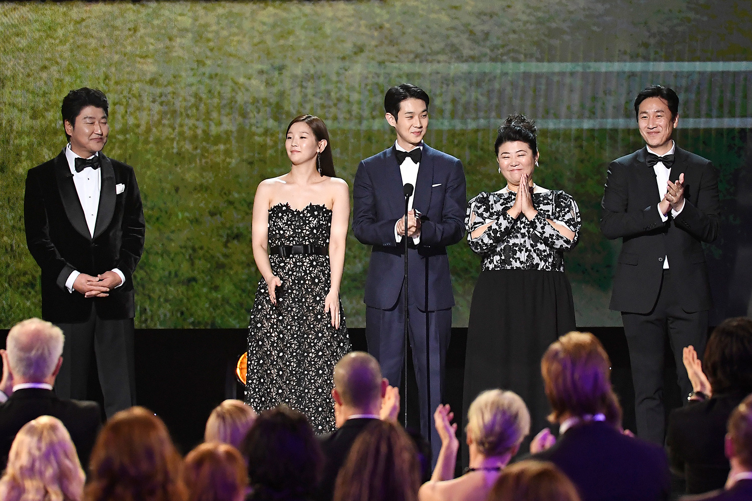 Kang-ho Song, So-dam Park, Woo-sik Choi, Jeong-eun Lee, and Sun-kyun Lee speak onstage during the 26th Annual Screen Actors Guild Awards at The Shrine Auditorium on January 19, 2020 in Los Angeles, California