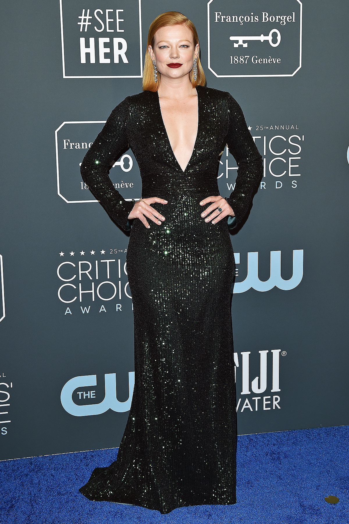 Sarah Snook attends the 25th Annual Critics' Choice Awards at Barker Hangar on January 12, 2020
