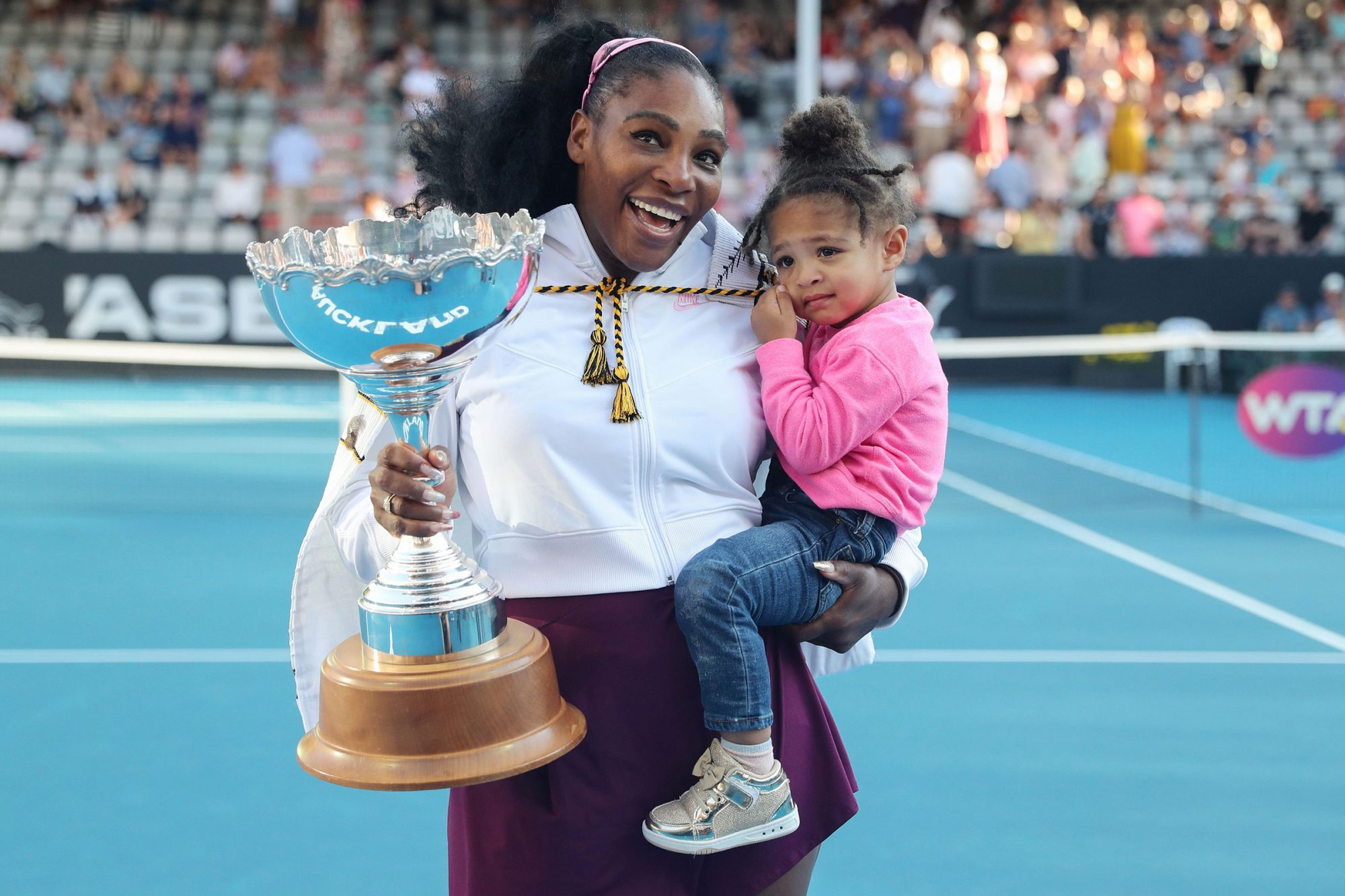 Serena Williams of the US with her daughter Alexis Olympia