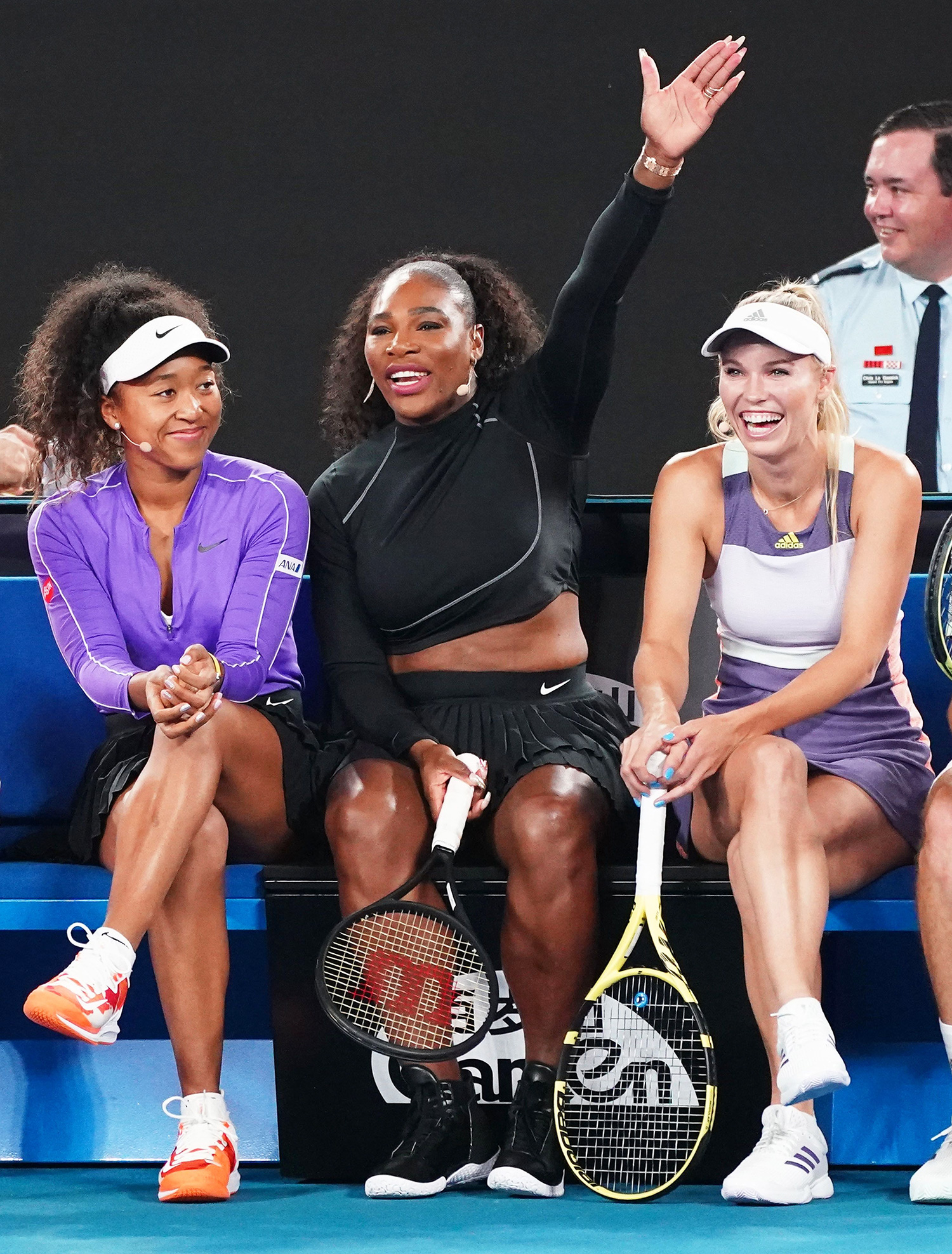 Naomi Osaka of Japan, Serena Williams of the USA, and Caroline Wozniacki of Denmark attend the Rally For Relief at Rod Laver Arena in Melbourne, Australia, 15 January 2020. Sports people and entertainers have come together for the Rally for Relief at Rod Laver Arena in Melbourne to raise money for bushfire relief efforts across Australia. Rally for Relief in Melbourne, Australia - 15 Jan 2020