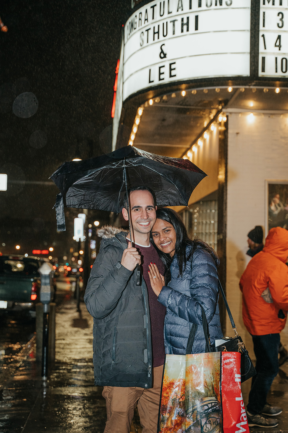 Lee Loechler proposed to his girlfriend Sthuthi David in a movie theater in Boston recently, and had animated versions of themselves put on screen to Sleeping Beauty.