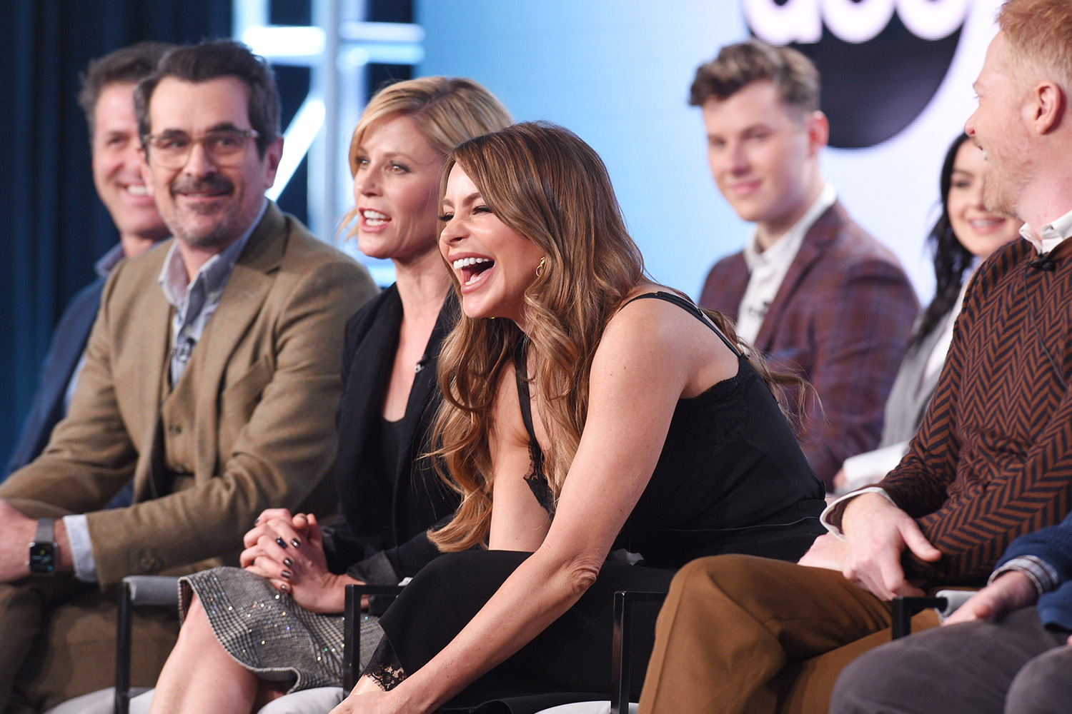 "SOFIA VERGARA and The cast and producer of ABC's ""Modern Family"" address the press at the ABC Winter TCA 2020, at The Langham Huntington Hotel in Pasadena, CA"