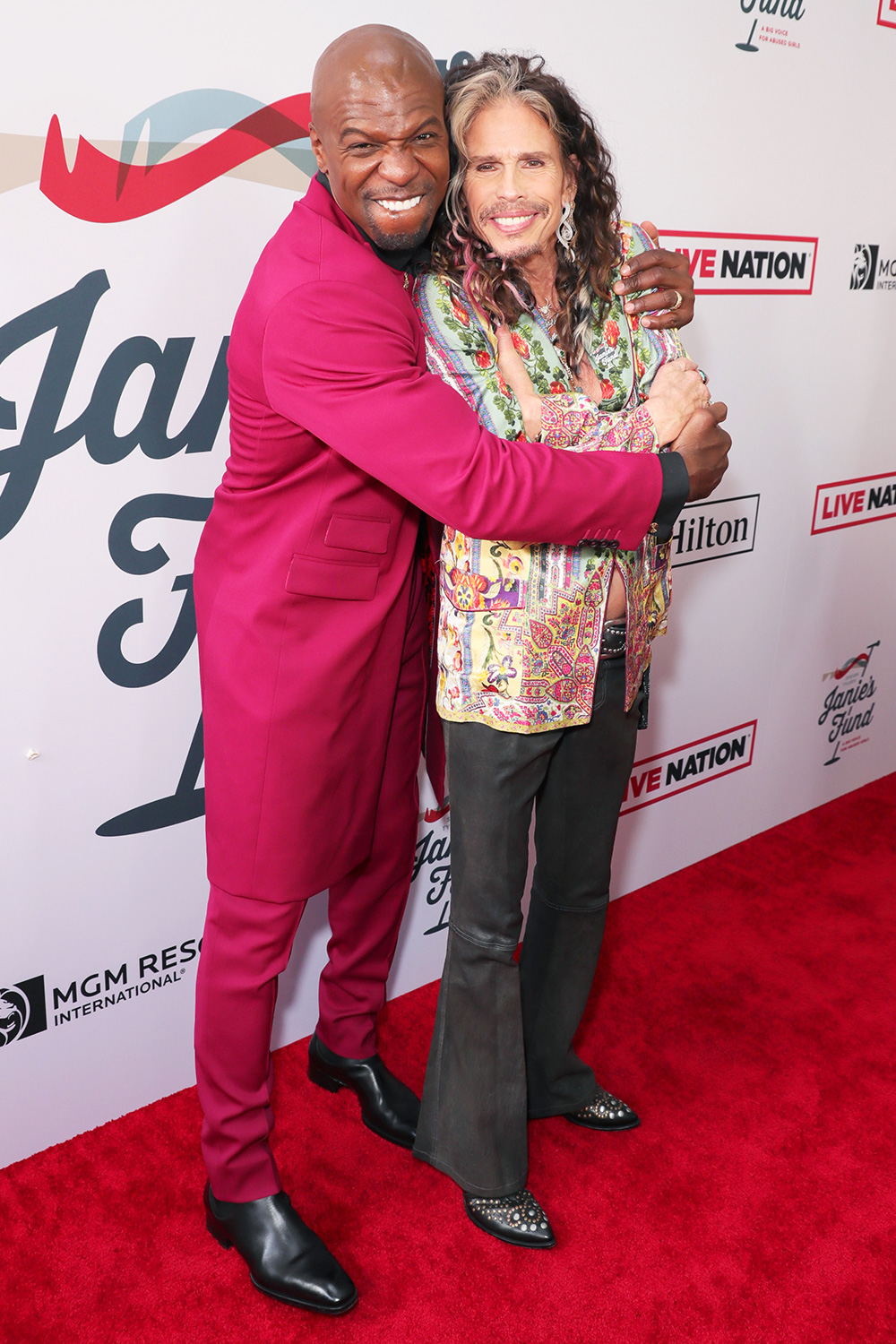 Terry Crews and Steven Tyler arrive at Steven Tyler's Third Annual Grammy Awards Viewing Party to benefit Janies Fund presented by Live Nation at Raleigh Studios on January 26, 2020 in Los Angeles, California