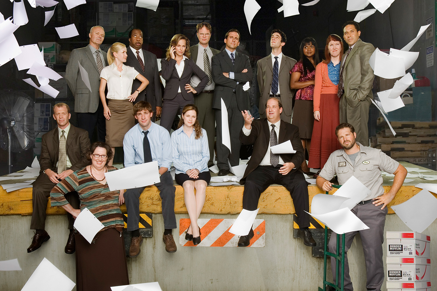 THE OFFICE -- Season 3 -- Pictured: (l-r) Front Row: Paul Lieberstein as Toby Flenderson, Phyllis Smith as Phyllis Lapin, John Krasinski as Jim Halpert, Jenna Fischer as Pam Beesly, Brian Baumgartner as Kevin Malone, Oscar Nuûez as Oscar Martinez, David Denman as Roy Anderson; Back Row: Leslie David Baker as Stanley Hudson, Angela Kinsey as Angela Martin, Creed Bratton as Creed Bratton, Melora Hardin as Jan Levinson, Steve Carell as Michael Scott, Rainn Wilson as Dwight Schrute, B.J. Novak as Ryan Howard, Mindy Kaling as Kelly Kapoor, Kate Flannery as Meredith Palmer