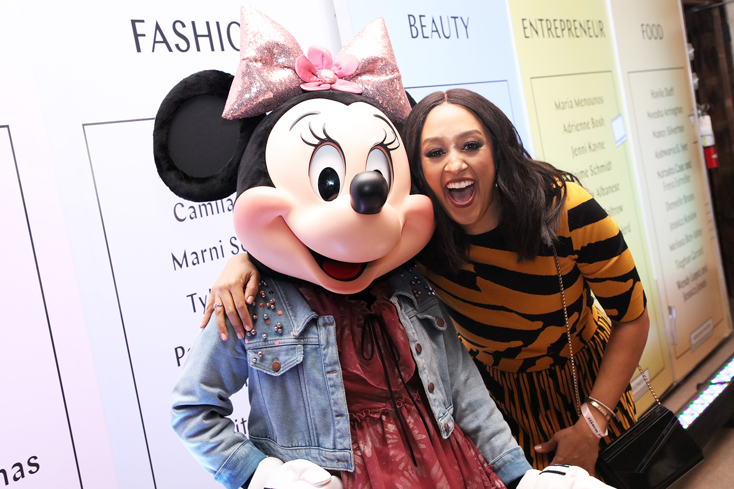 Minnie Mouse and Tia Mowry attend Create & Cultivate's 100 Launch Party at Valentine DTLA on January 23, 2020 in Los Angeles, California