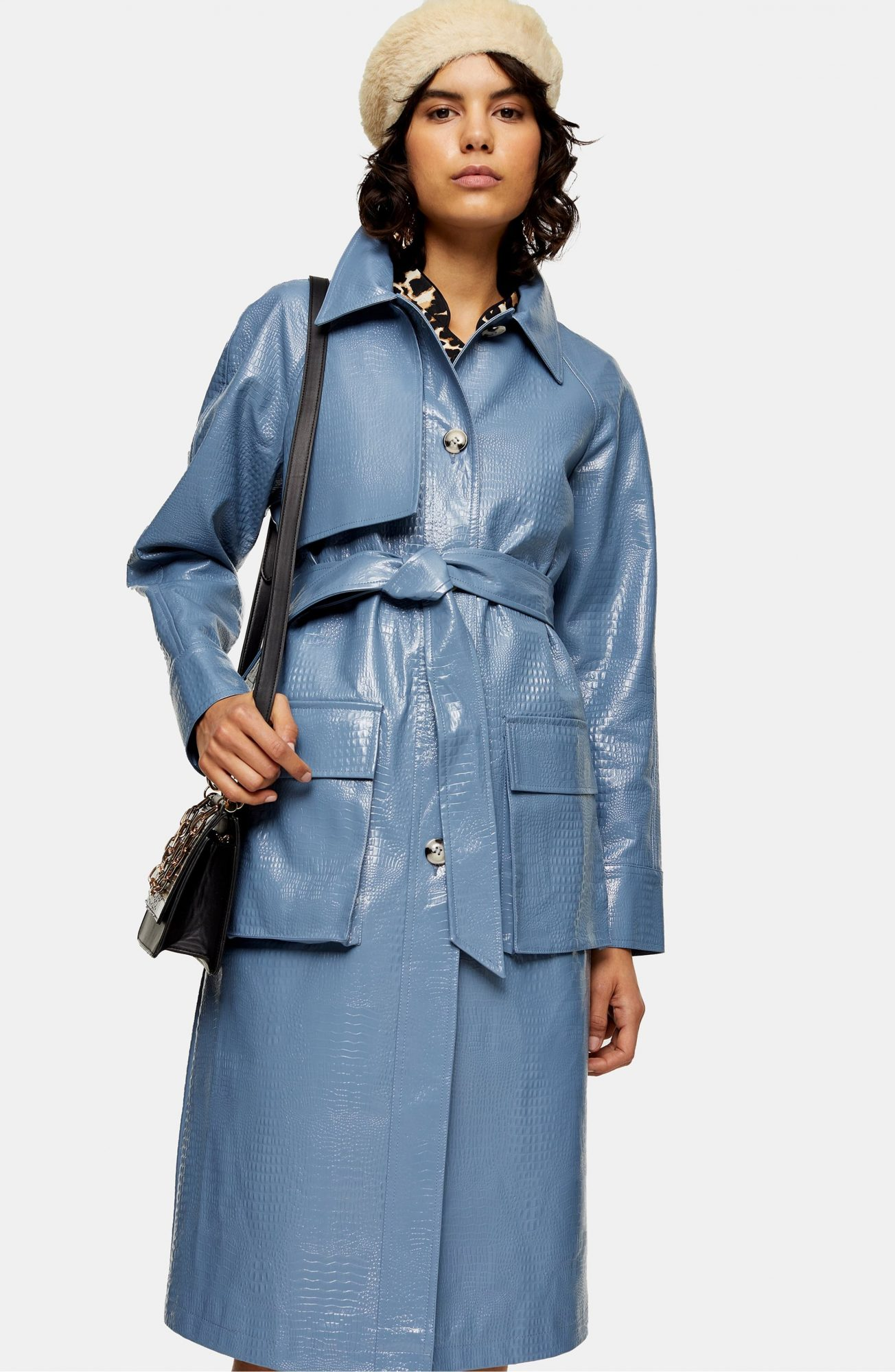topshop light blue faux leather trench coat with pockets nordstrom