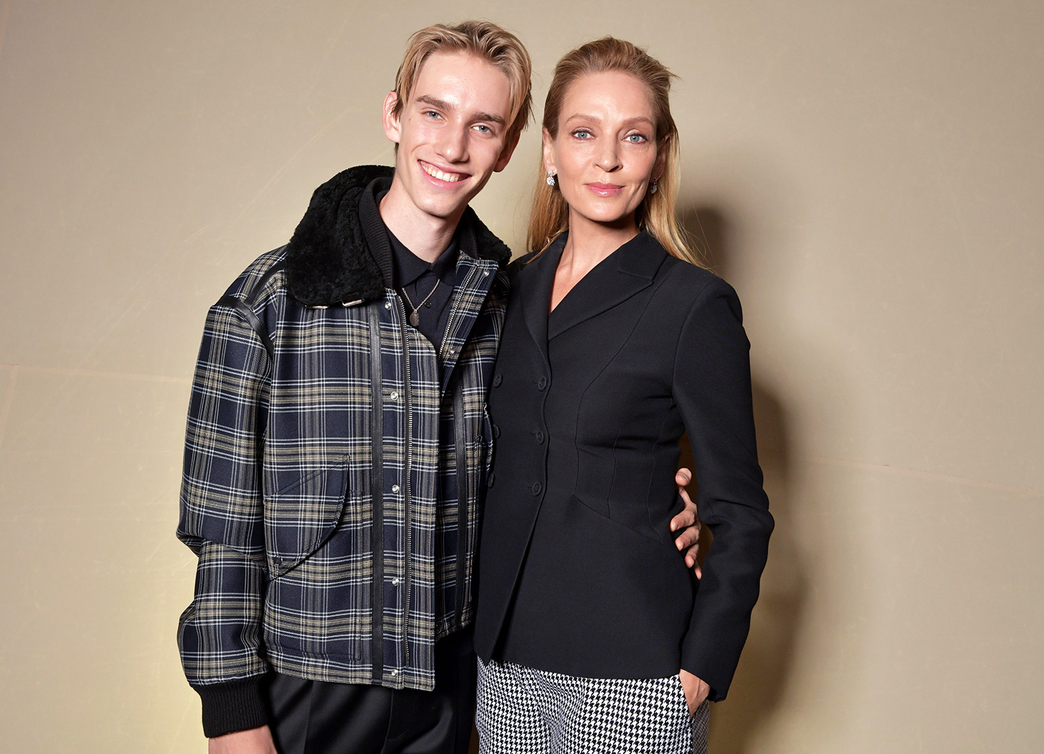 Levon Thurman-Hawke and Uma Thurman in the front row Dior show, Front Row, Spring Summer 2020, Haute Couture Fashion Week, Paris, France - 20 Jan 2020