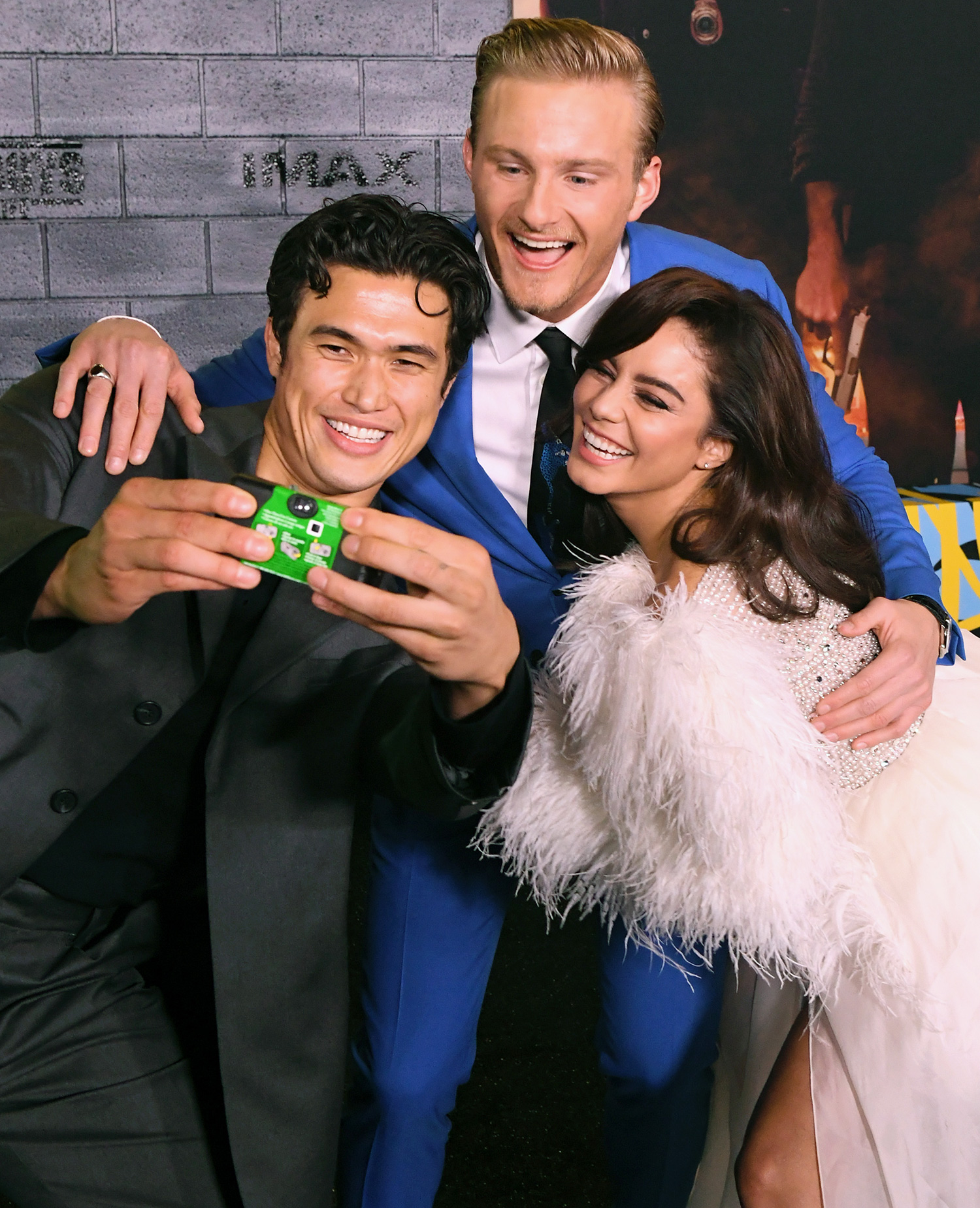 """Charles Melton, Alexander Ludwig, and Vanessa Hudgens attend the premiere of Columbia Pictures' """"Bad Boys For Life"""" at TCL Chinese Theatre on January 14, 2020 in Hollywood"""